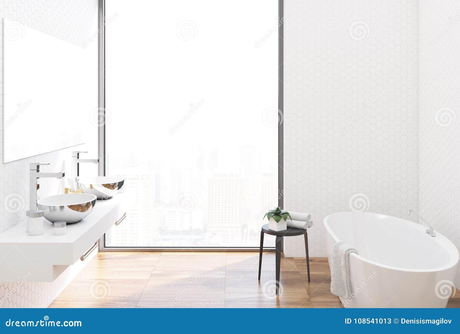 White Tiled Bathroom, Metal Sinks Stock Illustration - Illustration ...