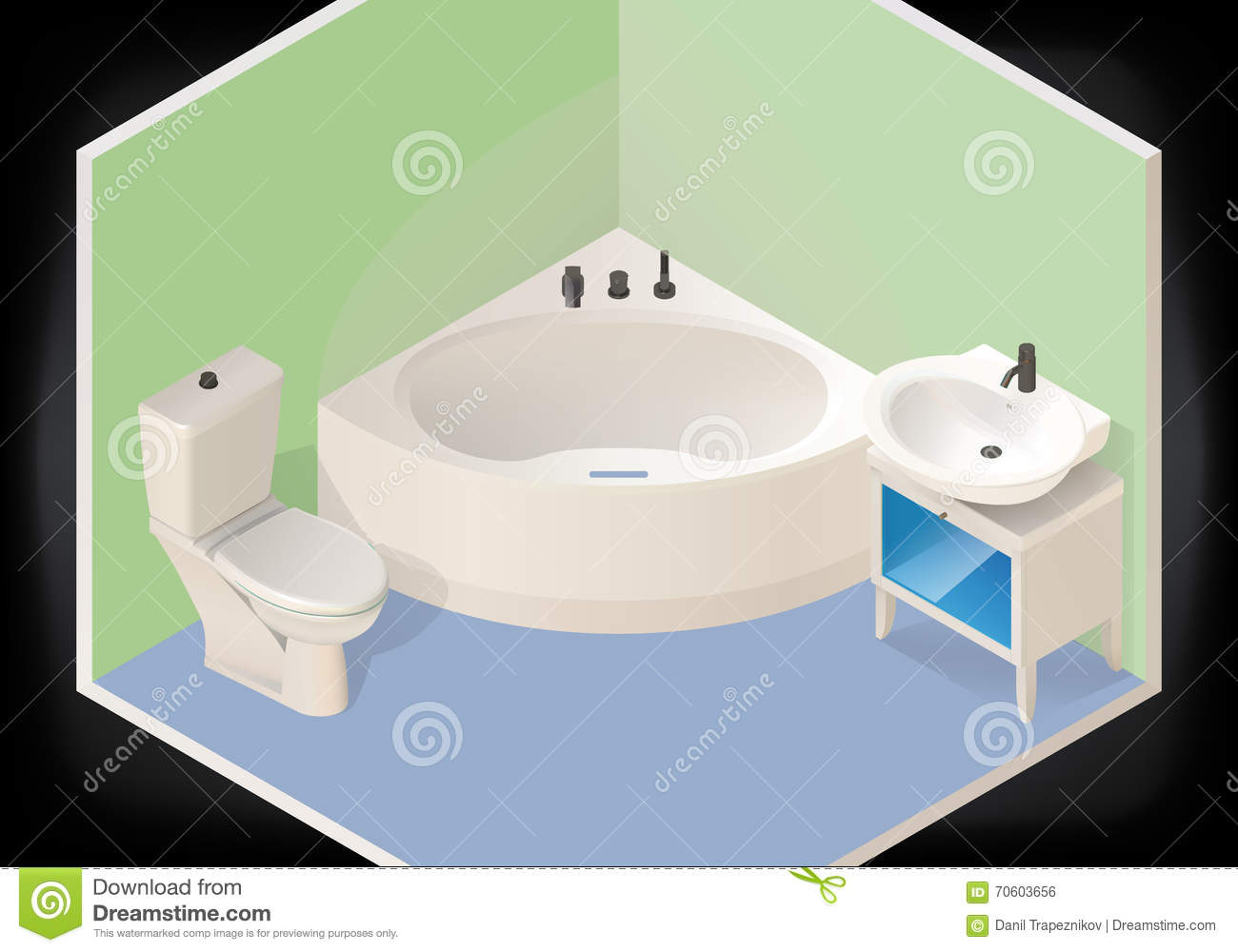 Cartoon home washroom tub vector illustration for Home washroom