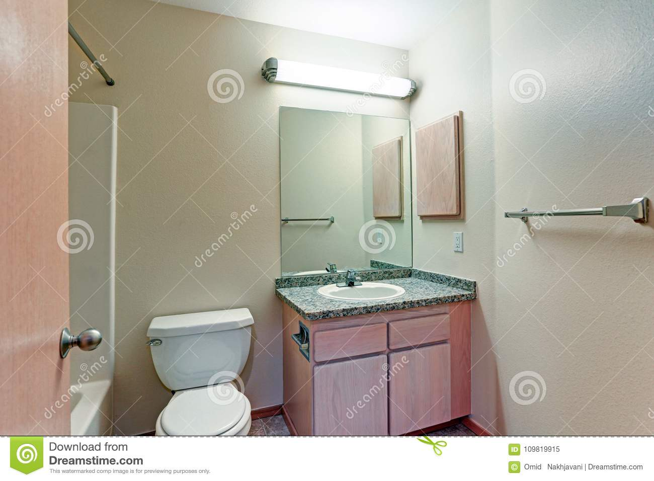 Bathroom With Light Wood Vanity Cabinet Stock Image Image Of Home House 109819915