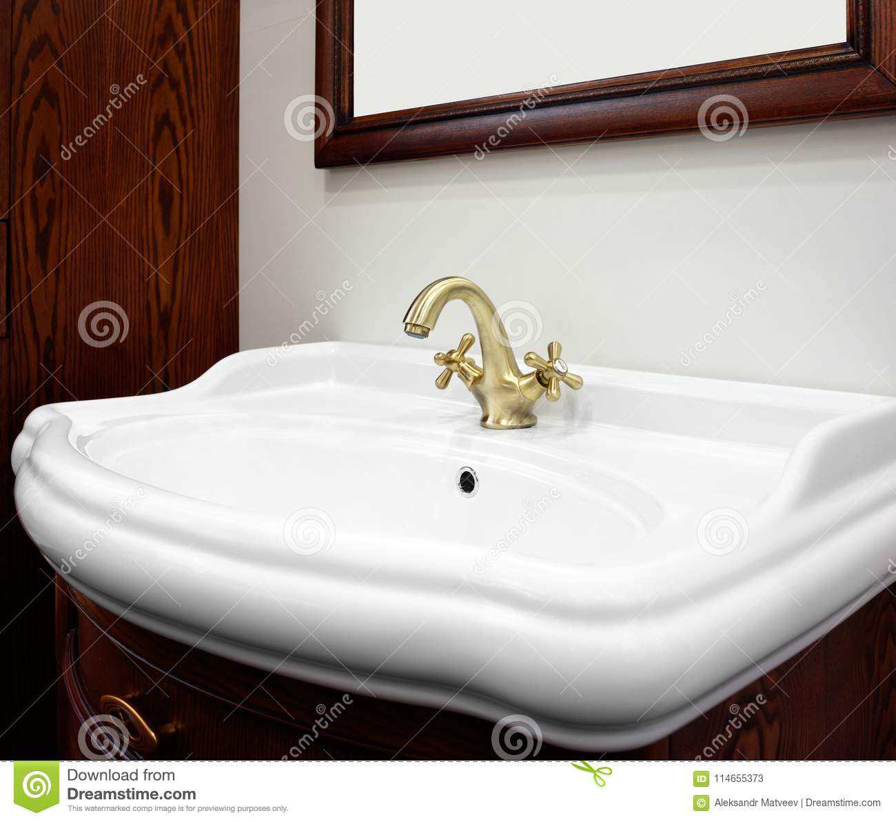 Download Bathroom Luxury Classic Redwood Interior With White Sink And  Classic Retro Style Bronze Faucet Stock