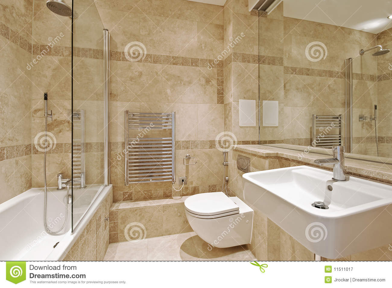 Bathroom with marble stock image image of hand design for Baignoire couleur beige