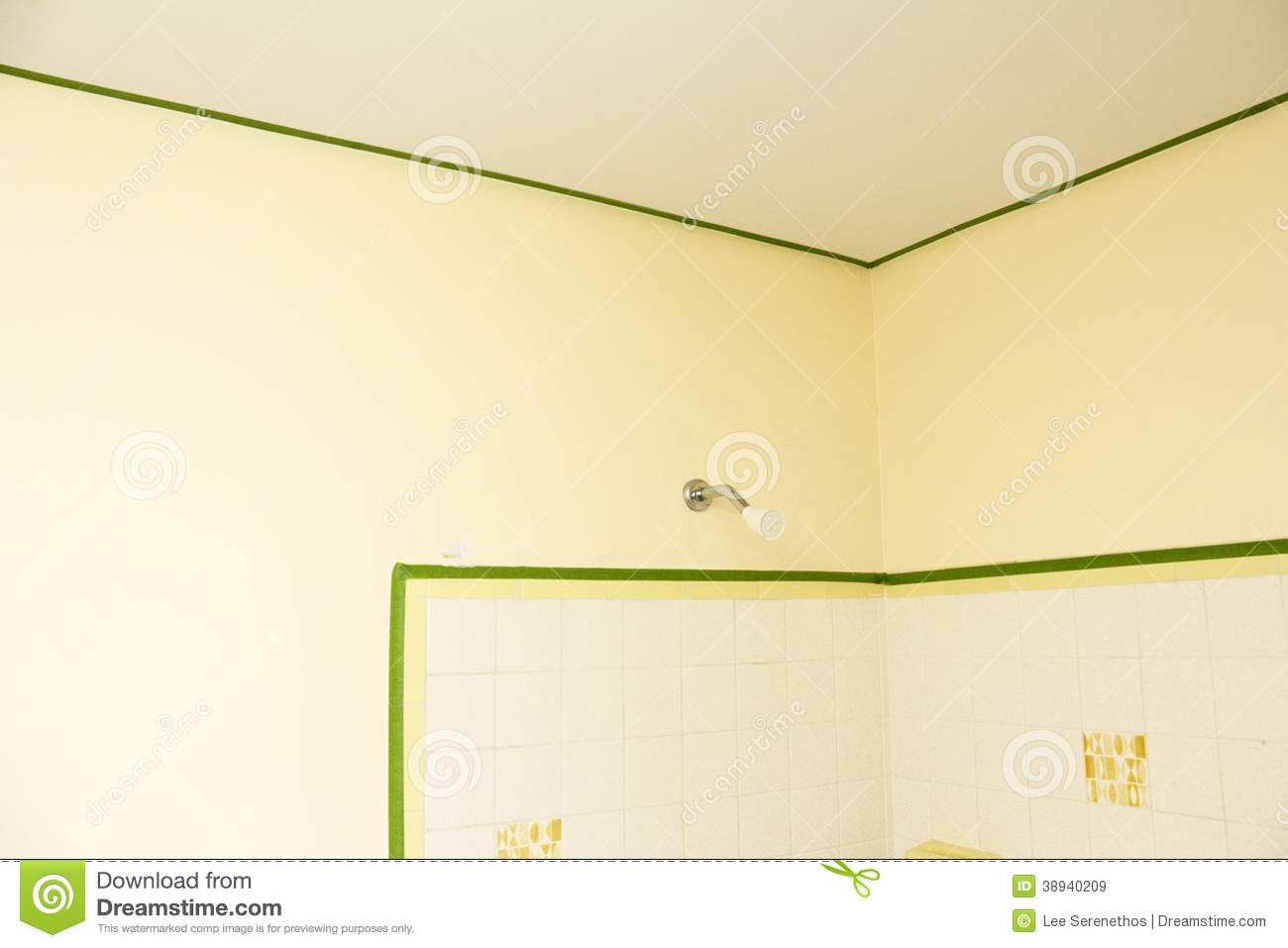 Bathroom Masked With Painters Tape Stock Image Image Of Removable
