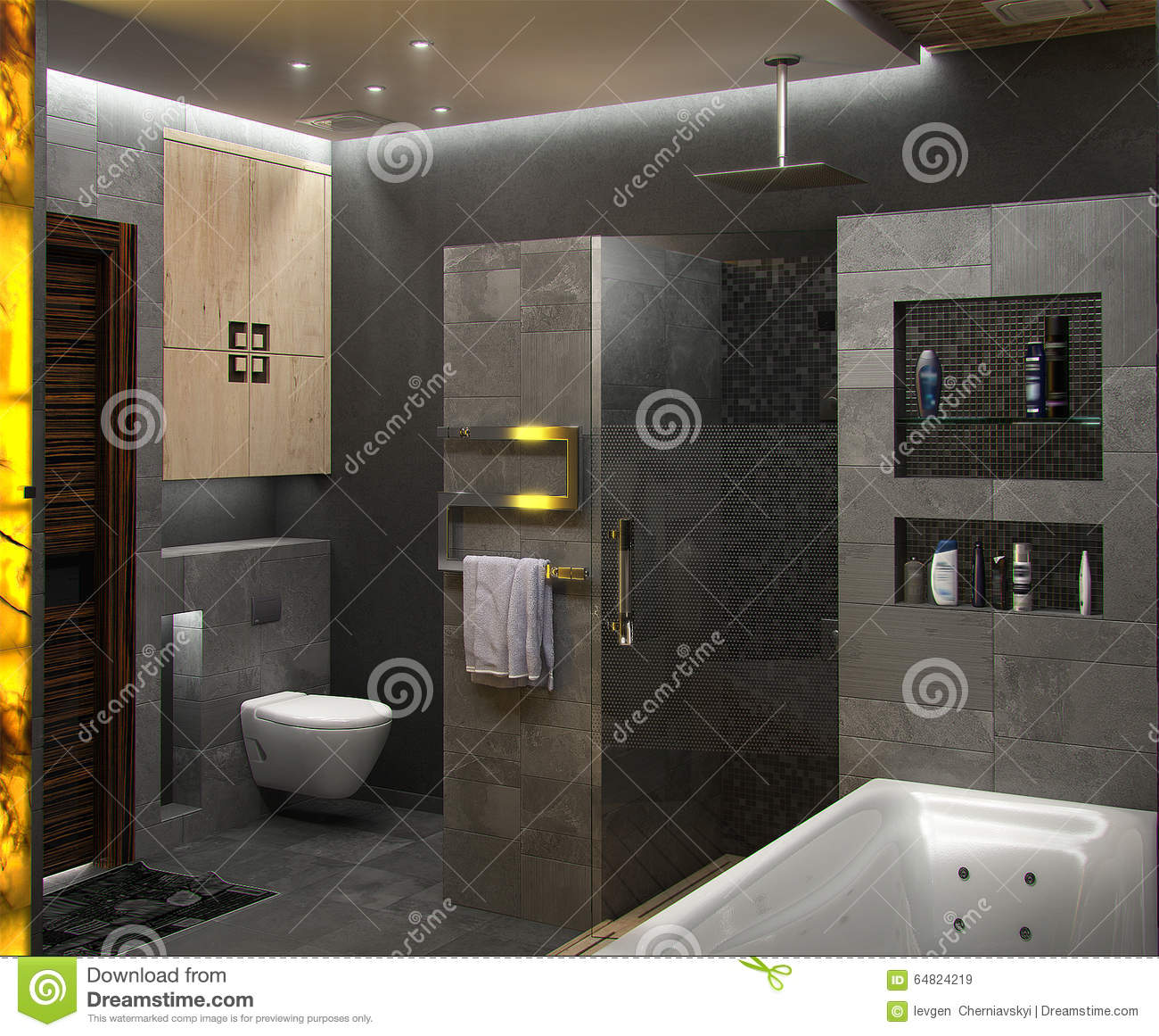 Bathroom minimalist style interior design render 3d stock image 59717101 - Minimalist style interior design ...