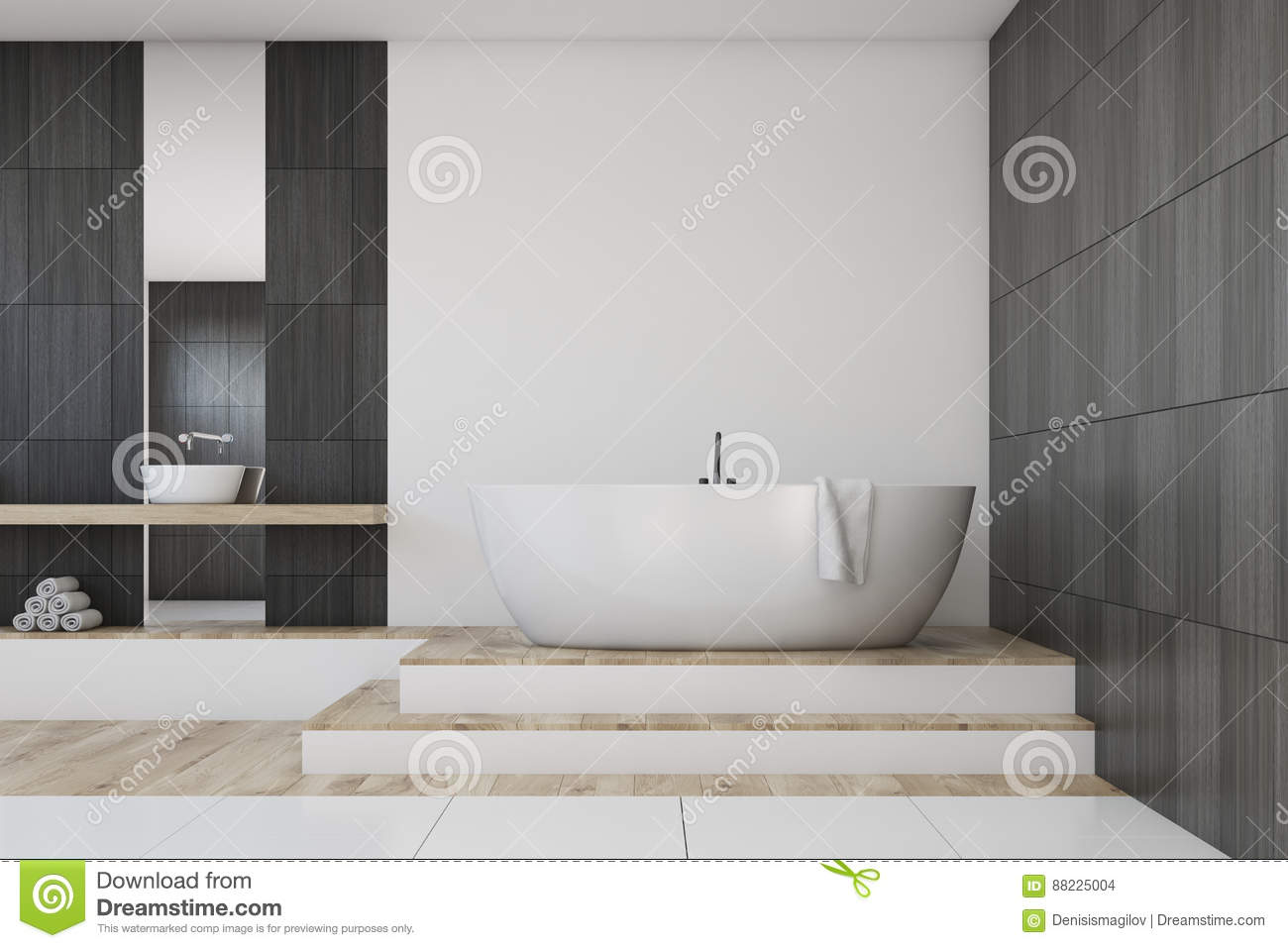 Bathroom With A Mirror, Black Stock Illustration - Illustration of ...