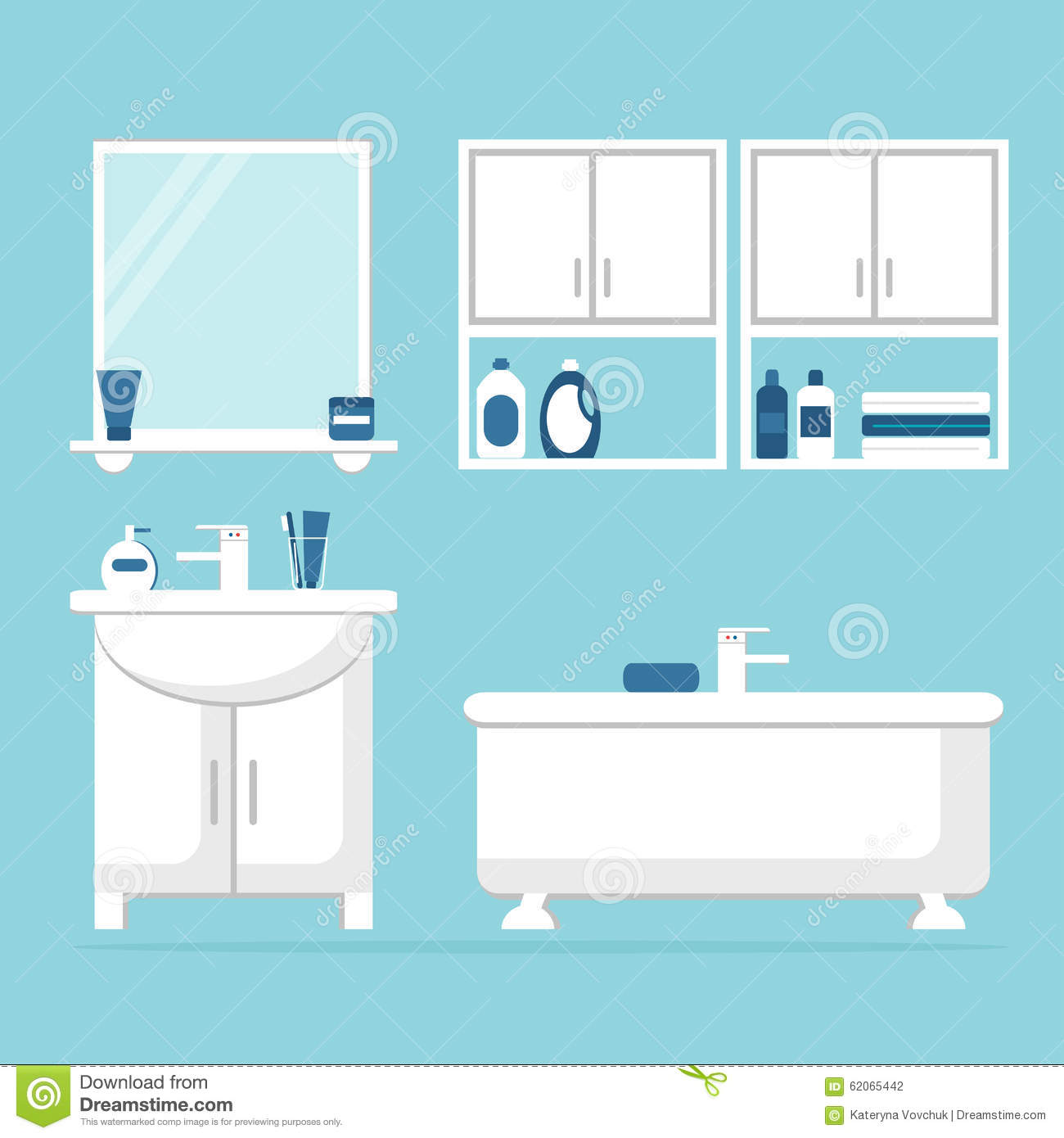 Bathroom. Modern Bathroom Interior With White Furniture On Blue ...