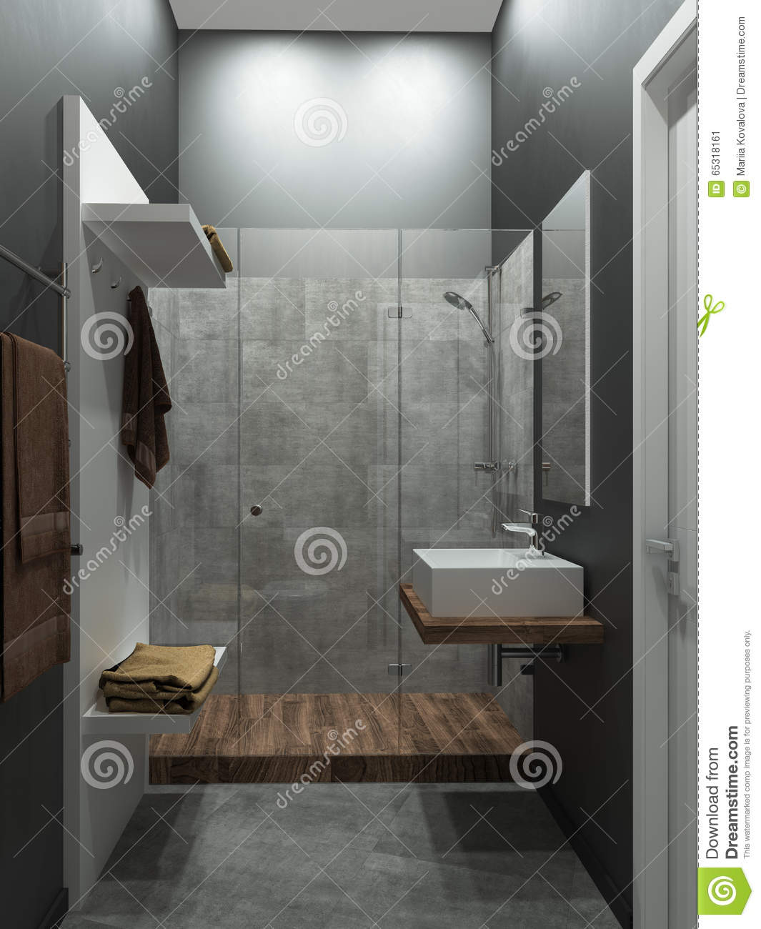 Bathroom Modern Loft Style, 3D Render Stock Illustration ...