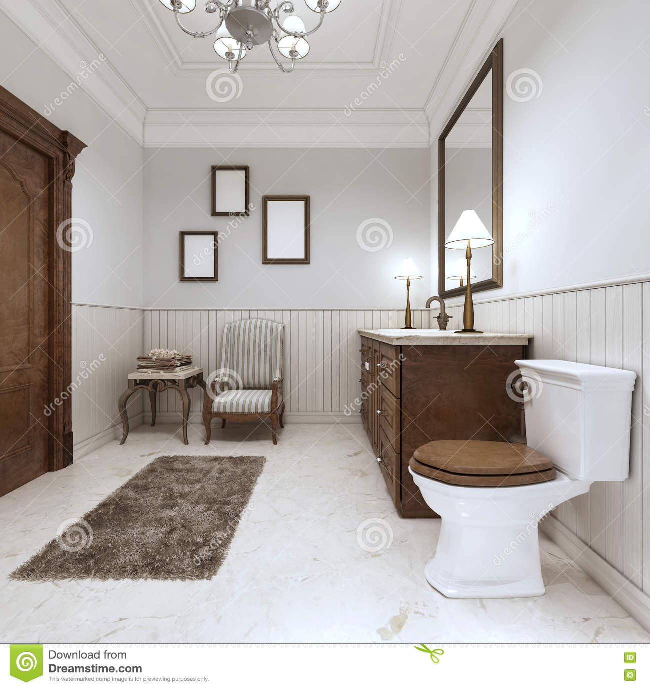 Bathroom In Modern Style With Sink Bath And Toilet With A Comfor ...