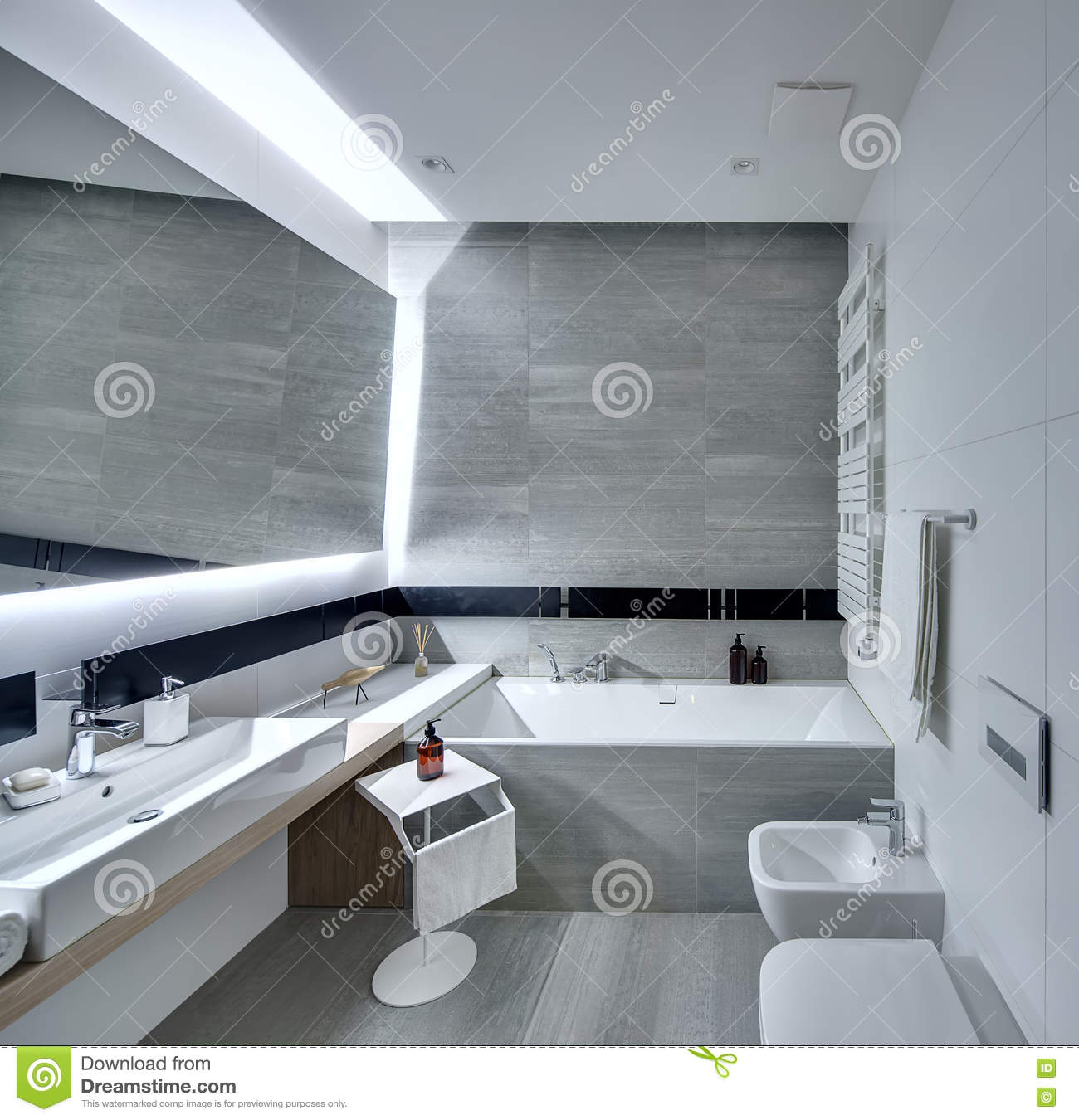 Bathroom in modern style stock photo. Image of dispenser - 81507250