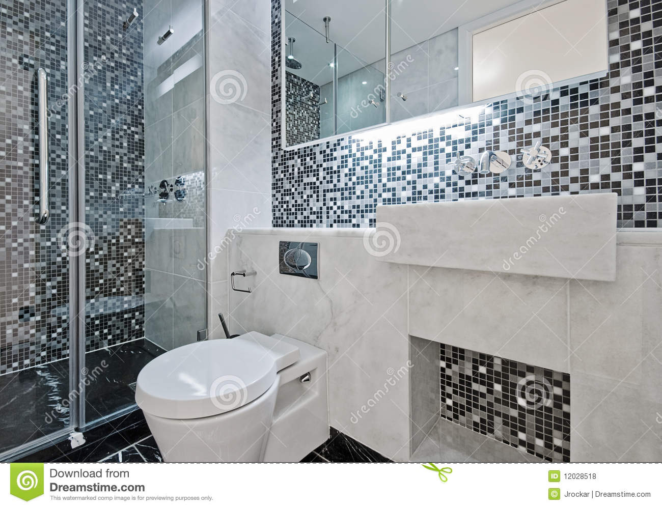 Bathroom with mosaic tiles stock photo image of mixer for Bathroom designs 12x8
