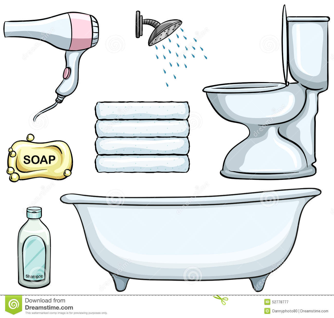 Cartoon Pictures Of Bathrooms: Bathroom Objects Stock Vector. Illustration Of Background