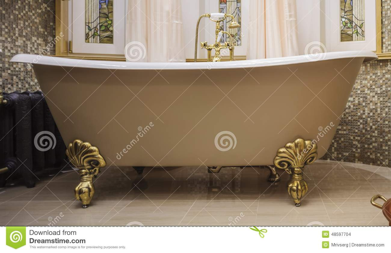 Bathroom With Old-fashioned Bathtub Stock Photo - Image of style ...
