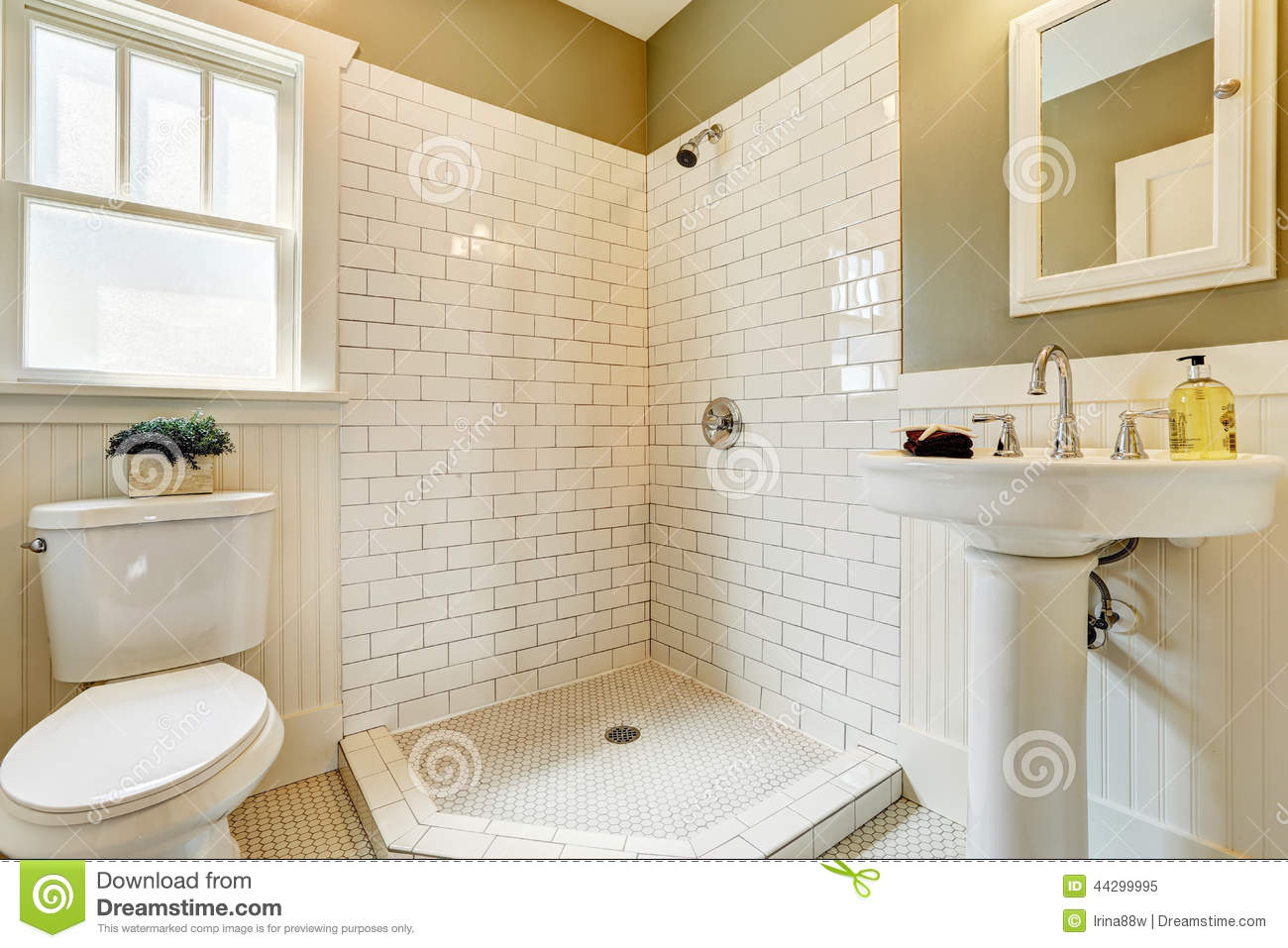 Open Shower Bathroom Bathroom With Open Shower And Tile Wall Trim Stock Photo Image