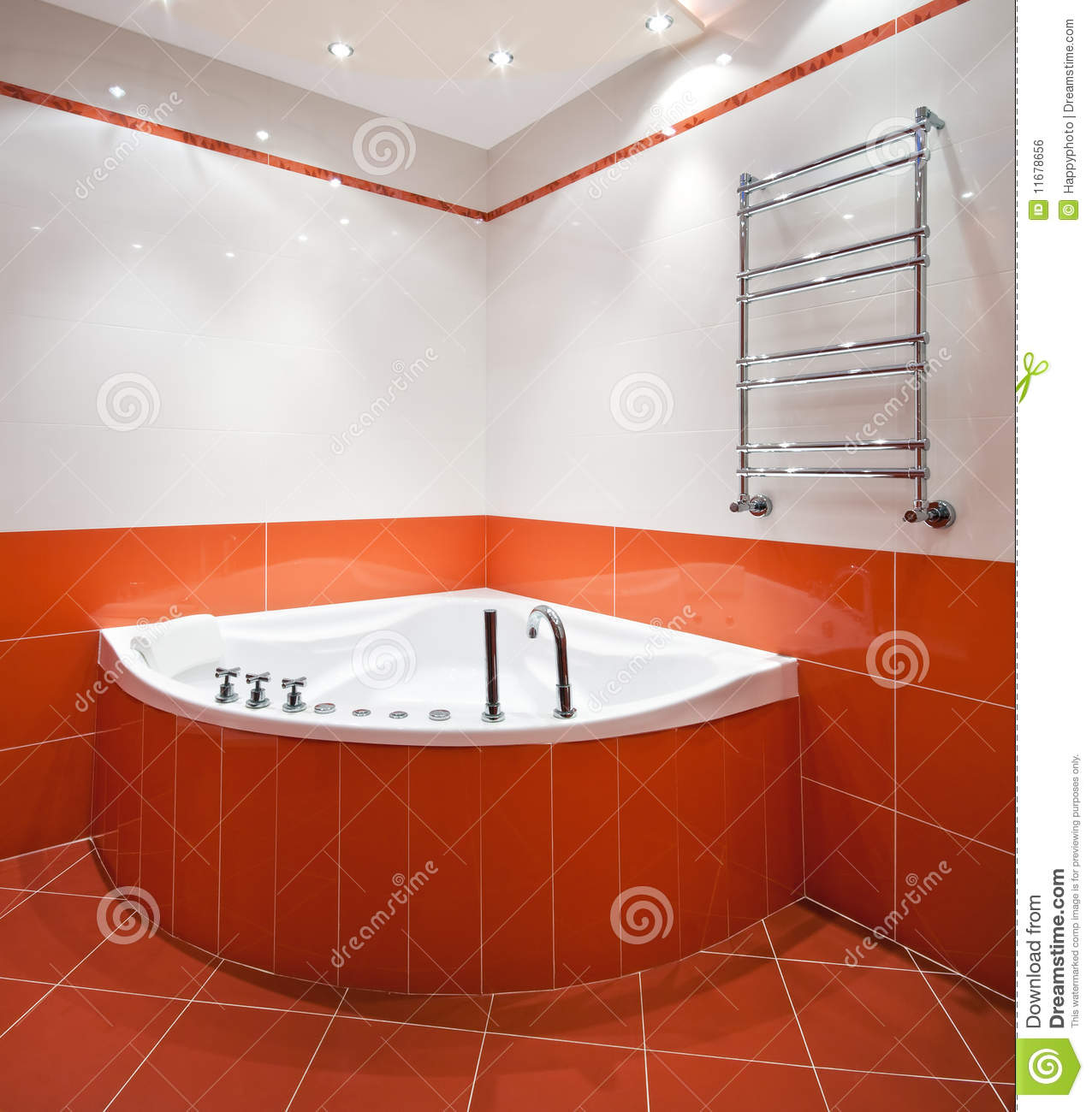 Orange Bathroom Bathroom In Orange And White Colors Royalty Free Stock Image .