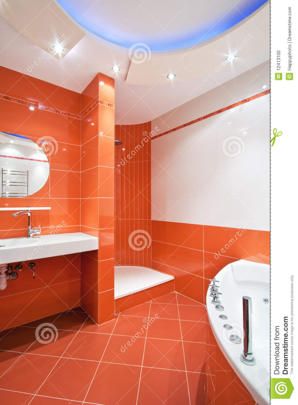 Bathroom In Orange And White Colors Stock Photo Image