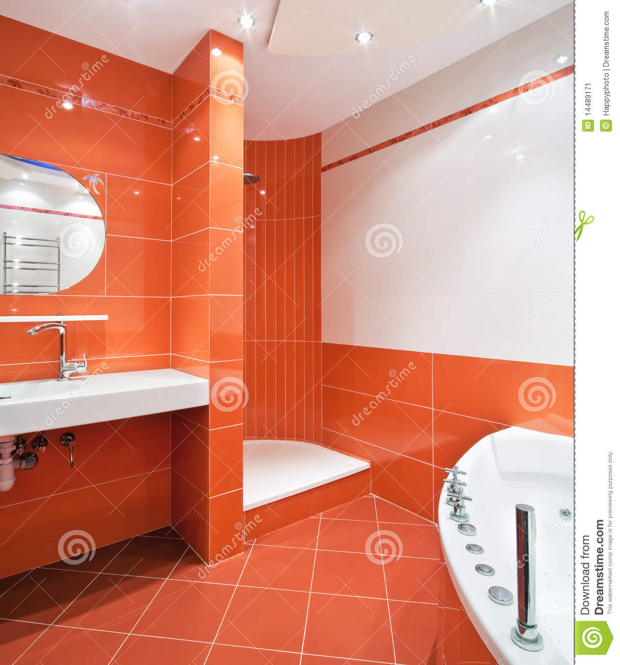 Bathroom in orange and white colors stock image image for Carrelage salle de bain orange