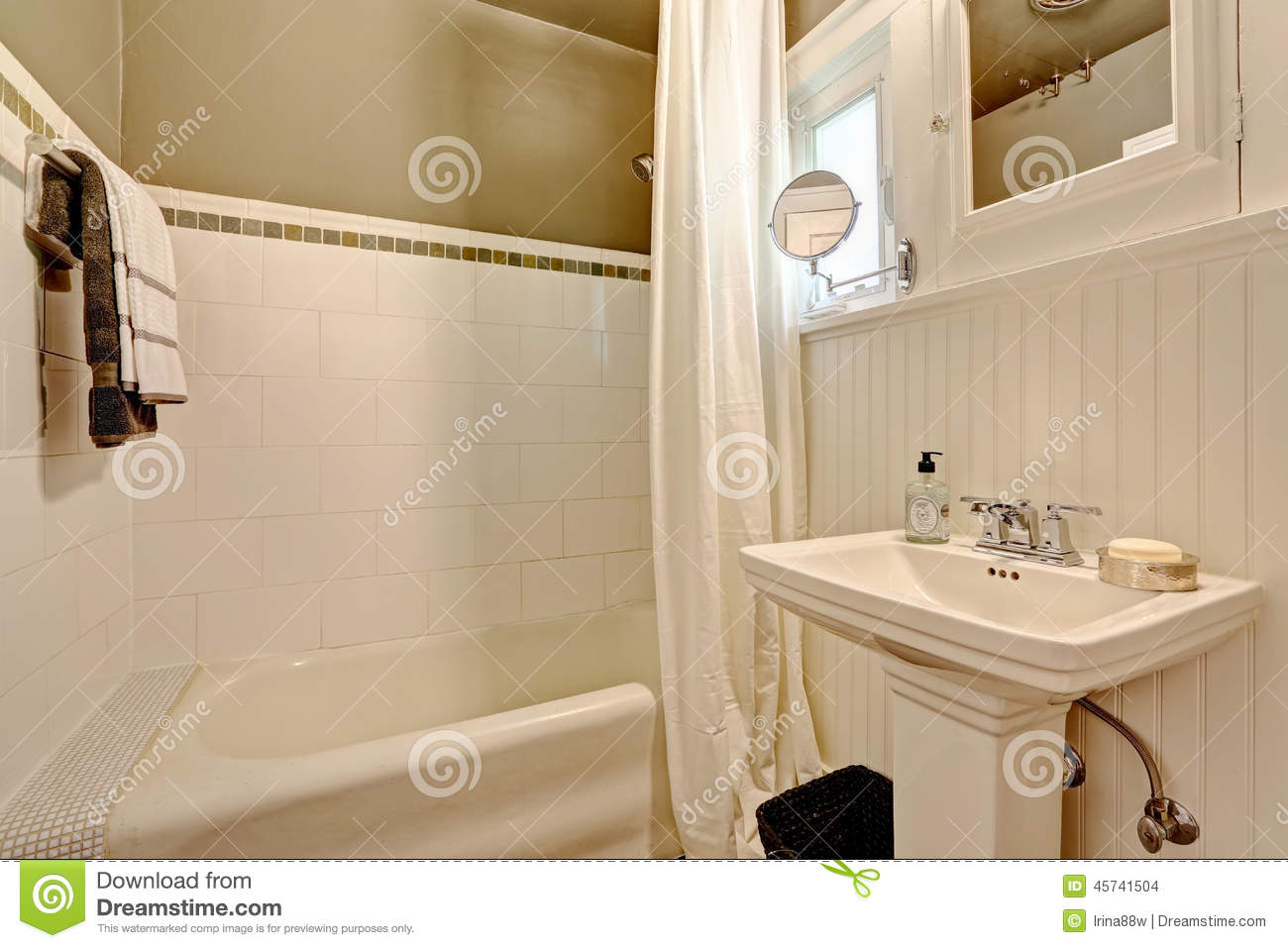 Bathroom With Plank Paneled Wall And Tile Trim Stock Photo Image