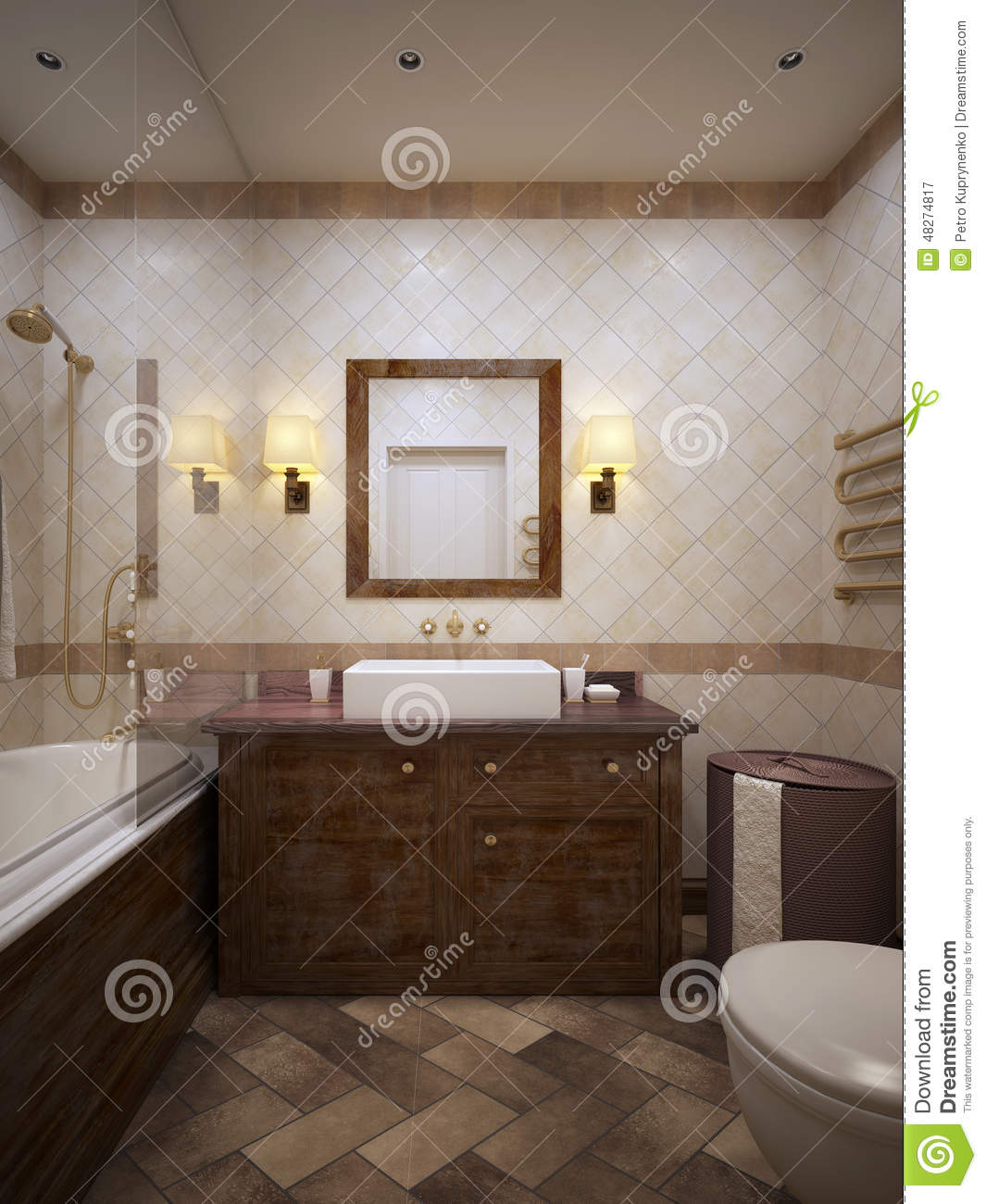 Bathroom in provence style stock illustration image of decorative 48274817 - Image of bath room ...