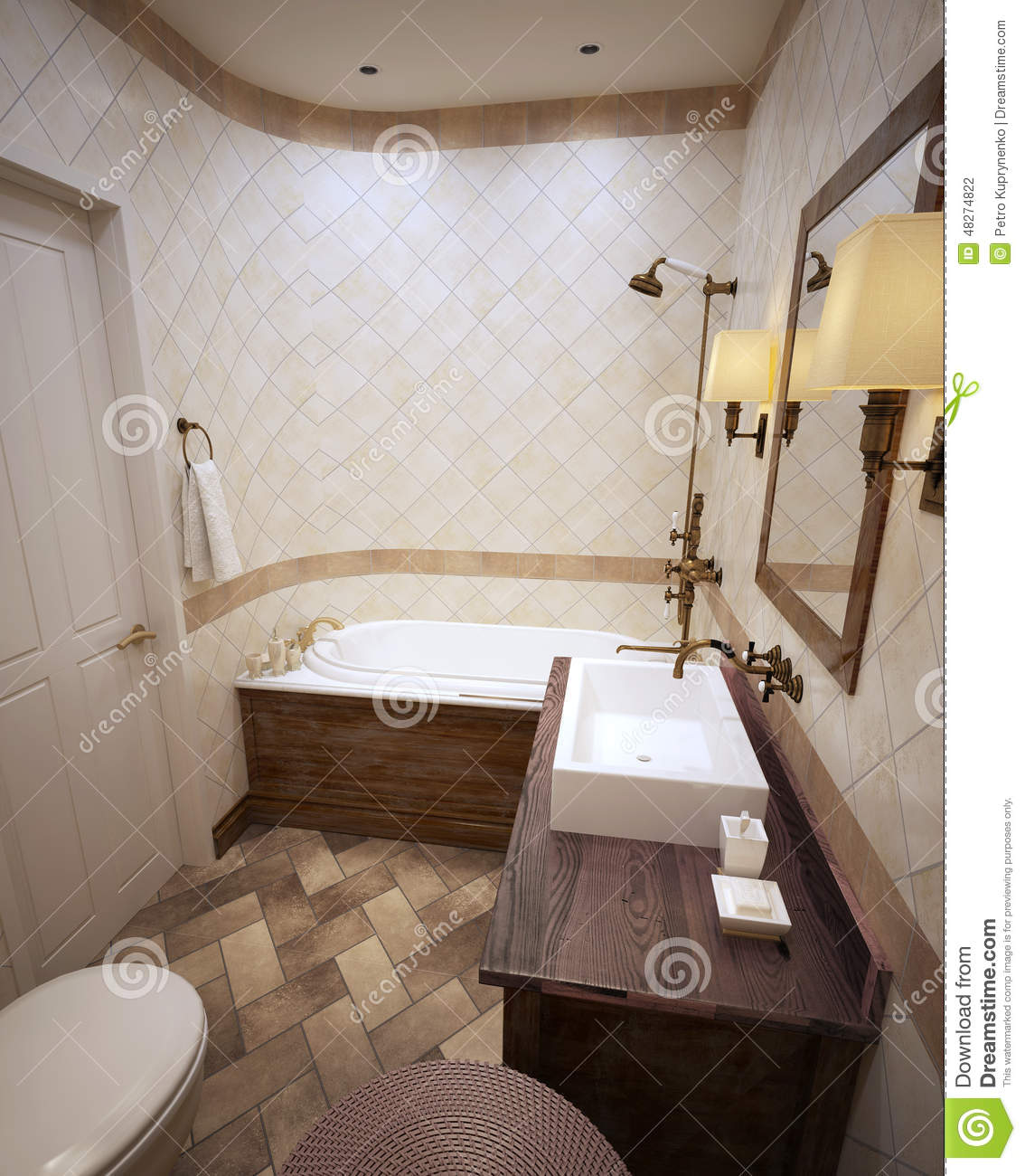 Bathroom in provence style stock illustration for Provence bathroom design