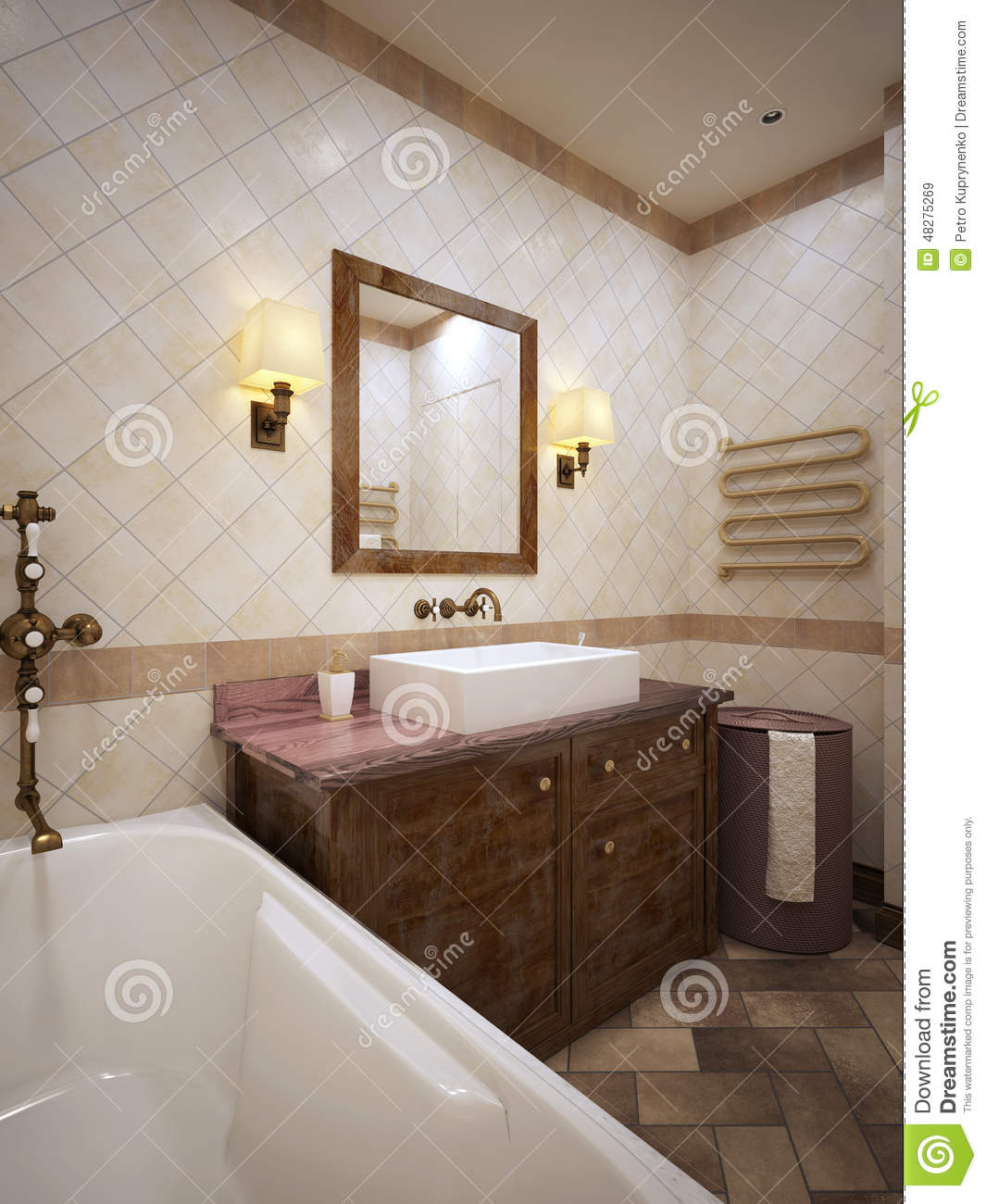 Bathroom in provence style stock illustration image for Provence bathroom design