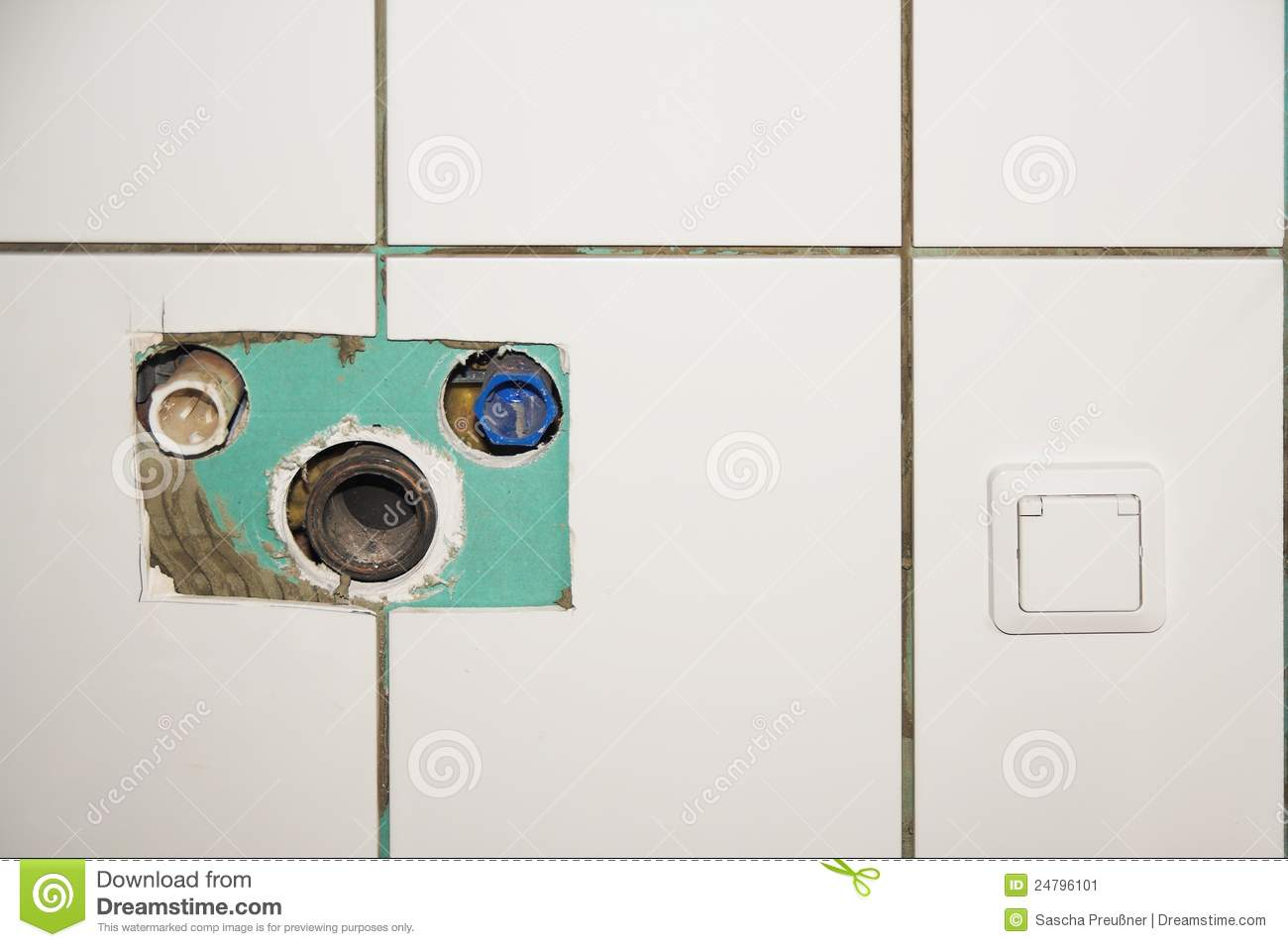 bathroom reconstruction stock image image of wall water