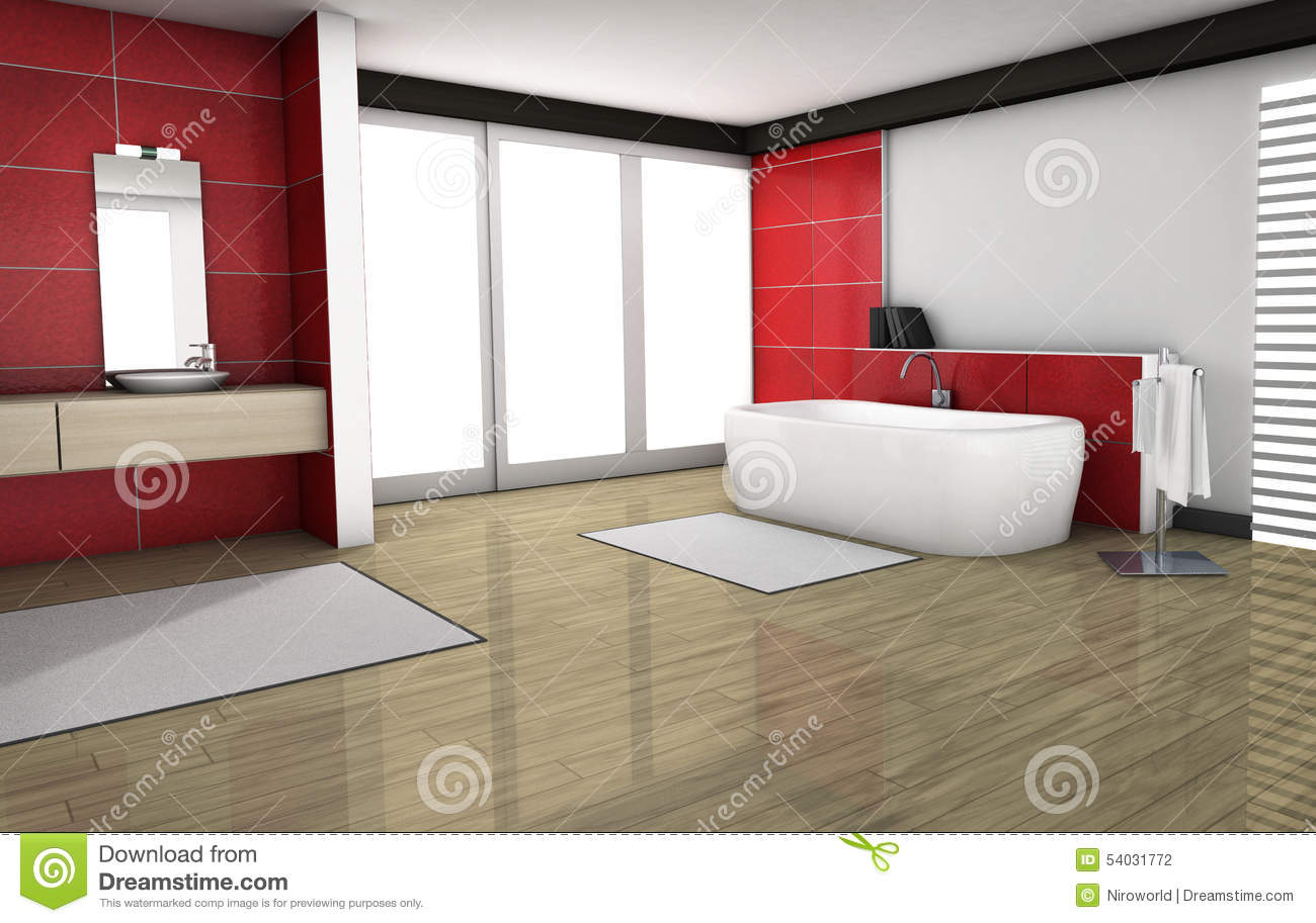 Bathroom With Red Granite Tiles Stock Illustration