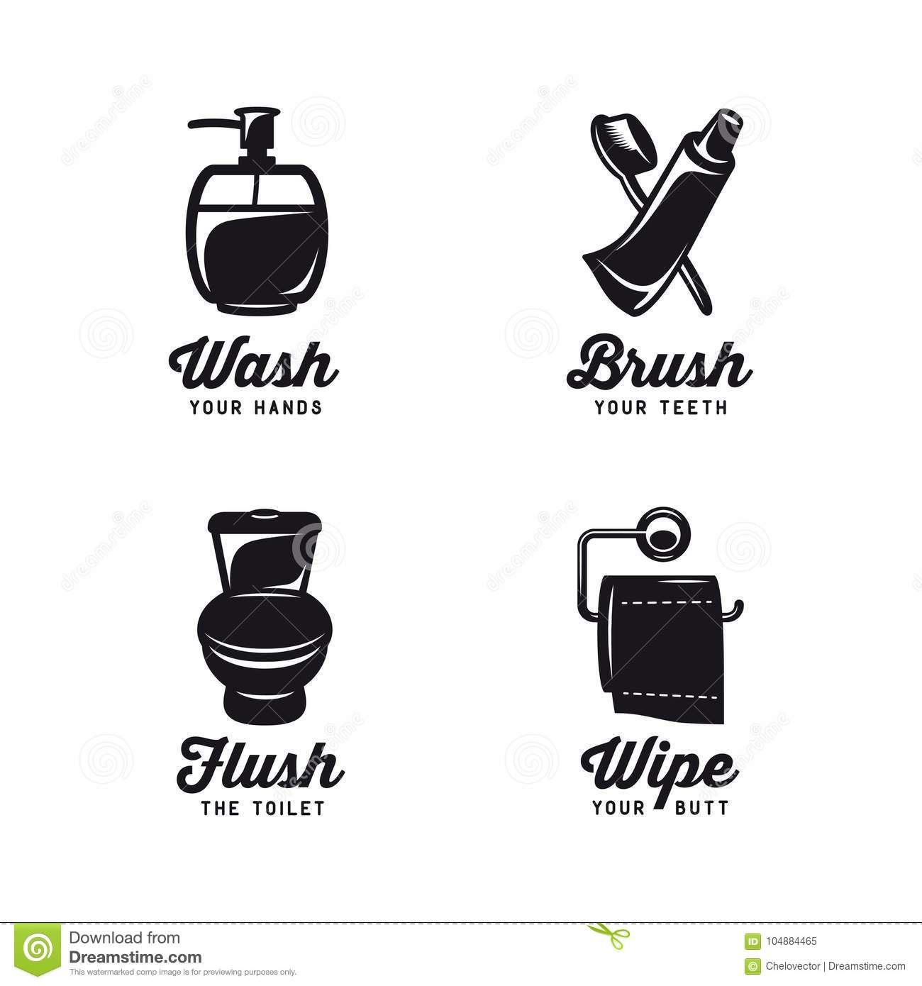 bathroom related vintage posters with quotes vector illustration - Bathroom Quotes