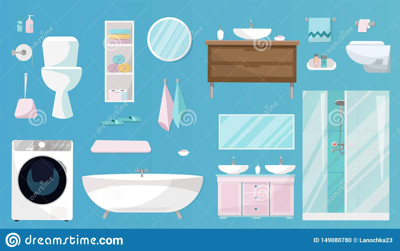 Bathroom set of Furniture, toiletries, sanitation, equipment and articles of hygiene for the bathroom. Sanitary ware set isolated