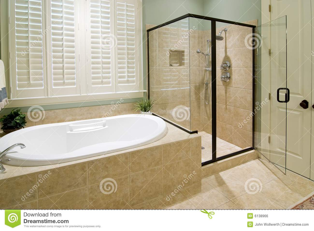 Bathroom with shower stock photo. Image of glass, luxurious - 6138966