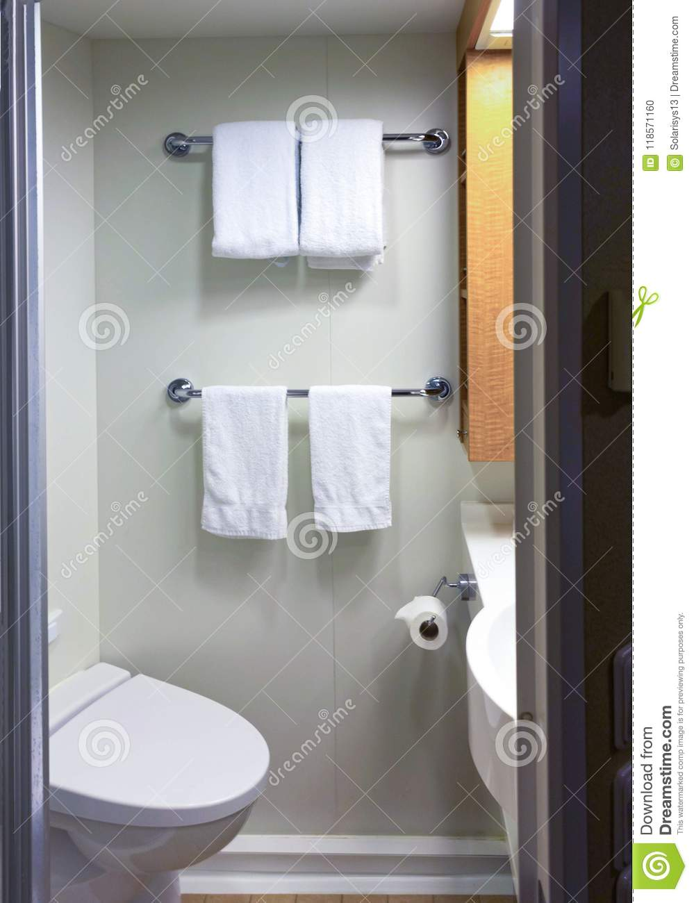 Bathroom With Shower Cabin Toilet On A Cruise Ship Stock Photo