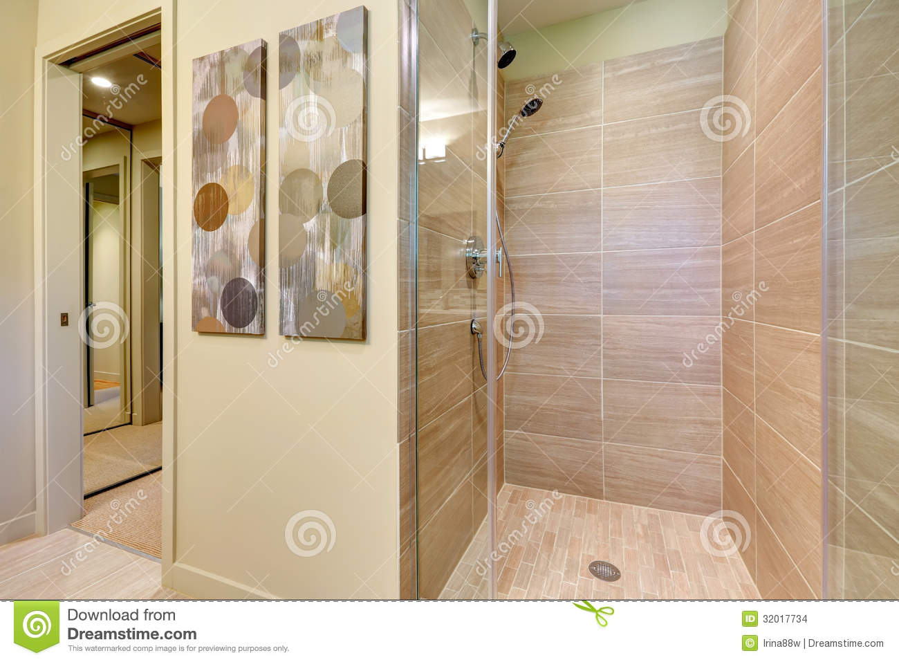 Bathroom Shower With Glass Doors And Natural Color Tiles