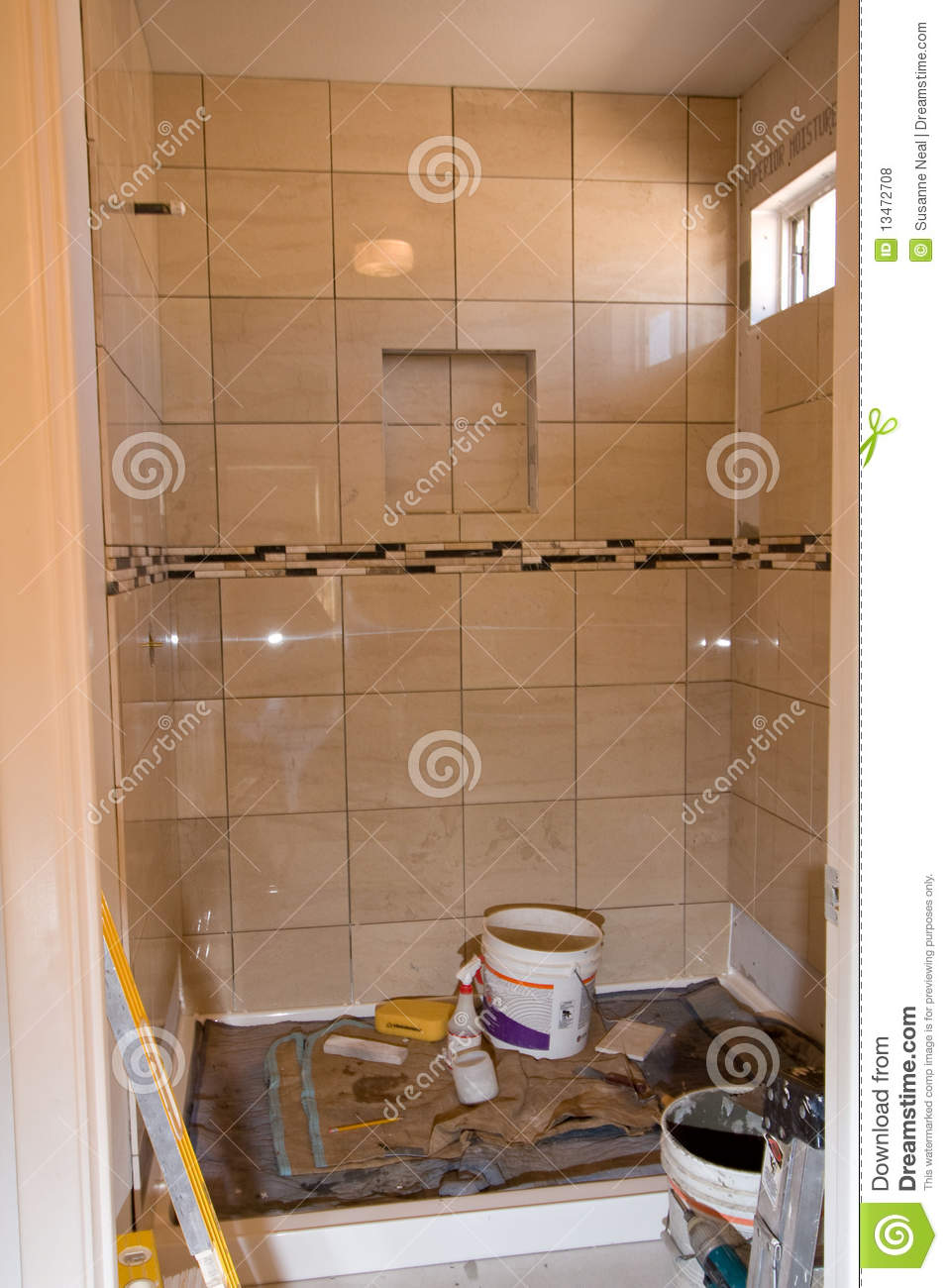 Bathroom Shower Tile Remodel Royalty Free Stock Photos