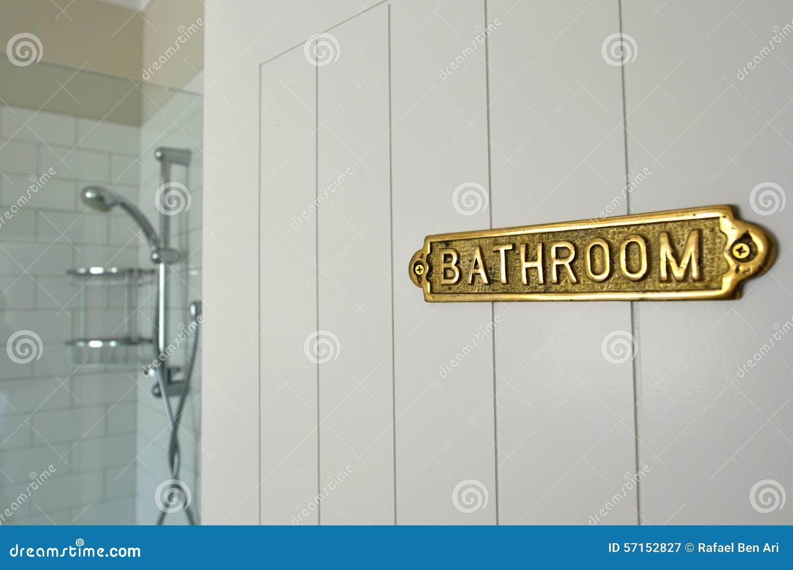 Bathroom Sign On A Home Bathroom Door