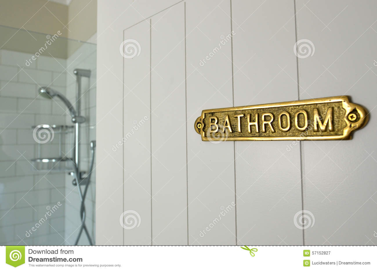 Sign for bathroom door - Bathroom Sign On A Home Bathroom Door