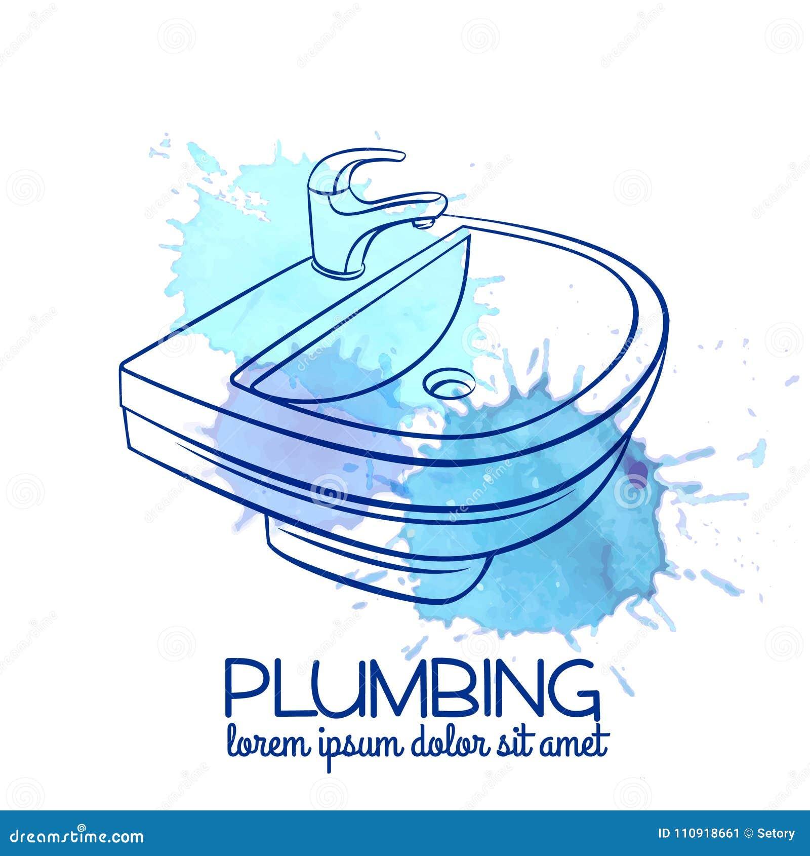 Bathroom sink badge stock vector. Illustration of household - 110918661