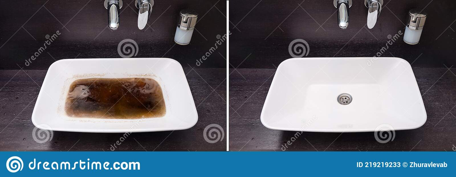 Bathroom Sink Before And After Cleaning The Blockage Dirty And Clean Sink Bowl Stock Image Image Of Dirty Bath 219219233