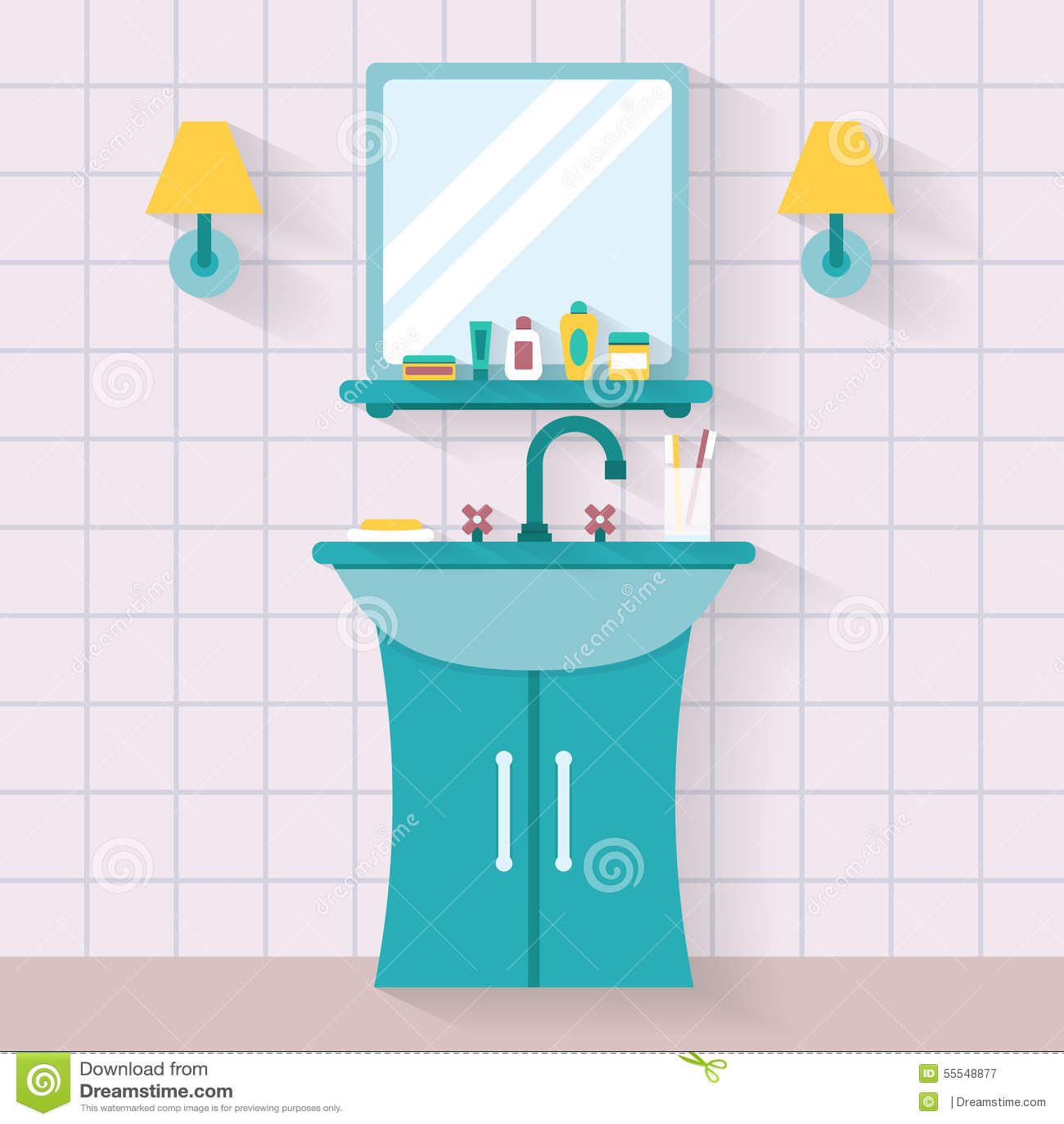 Bathroom Sink With Mirror Stock Vector