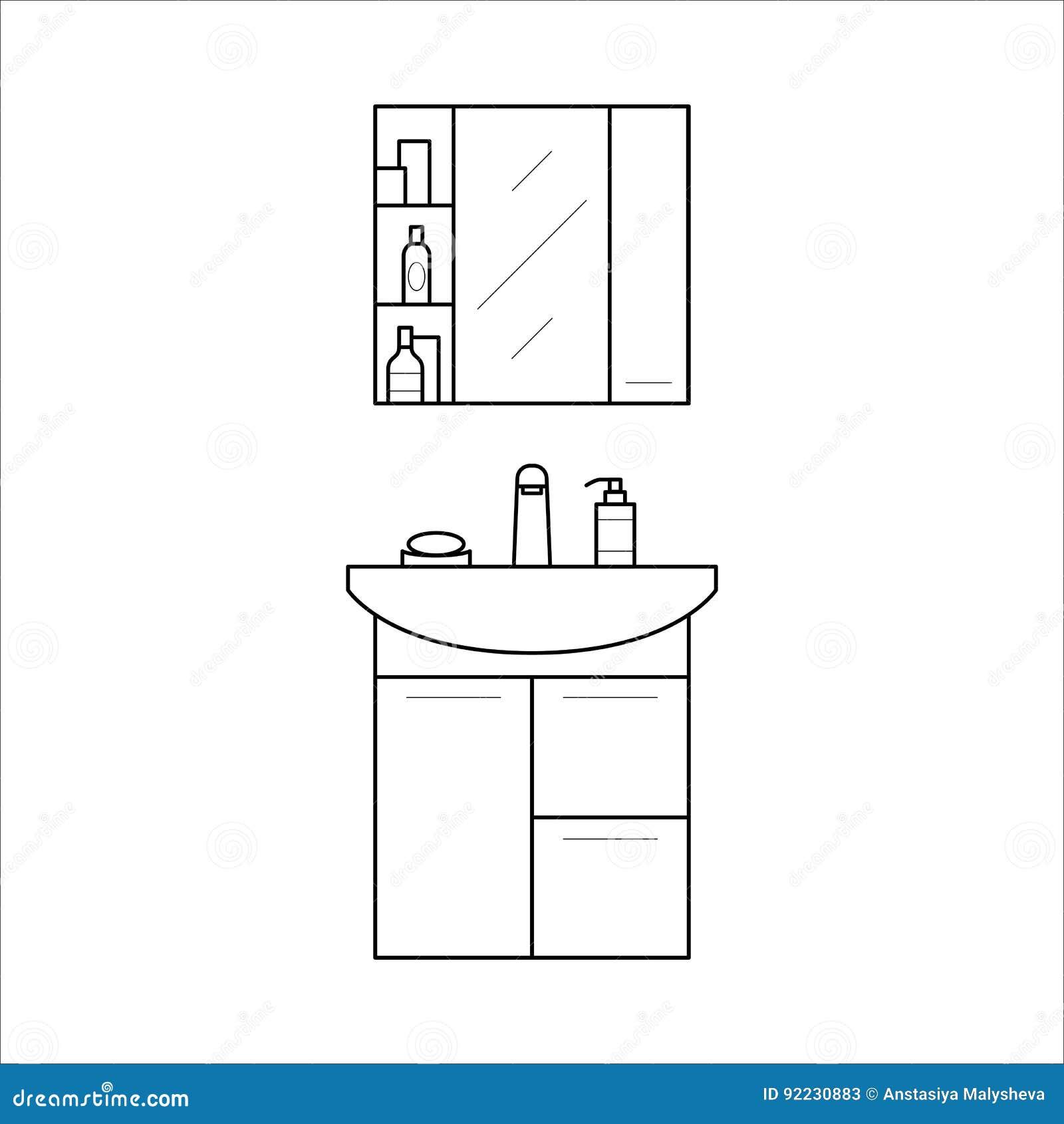 Bathroom Sink And Shelf Home Furniture Lineart Design Interior