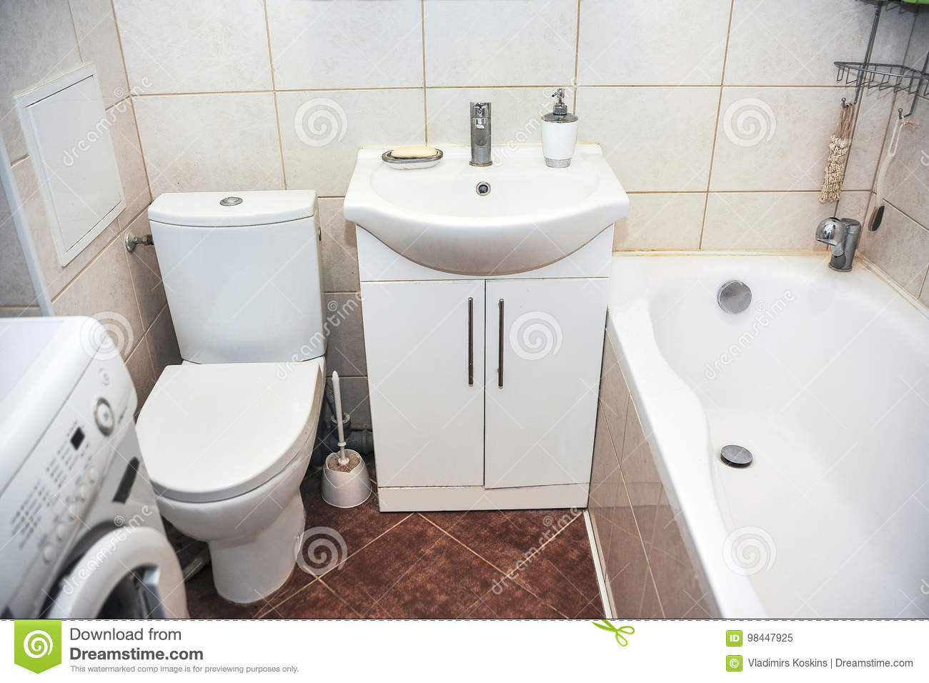Bathroom In A Small Apartment Stock Image - Image of bottle, cabinet ...