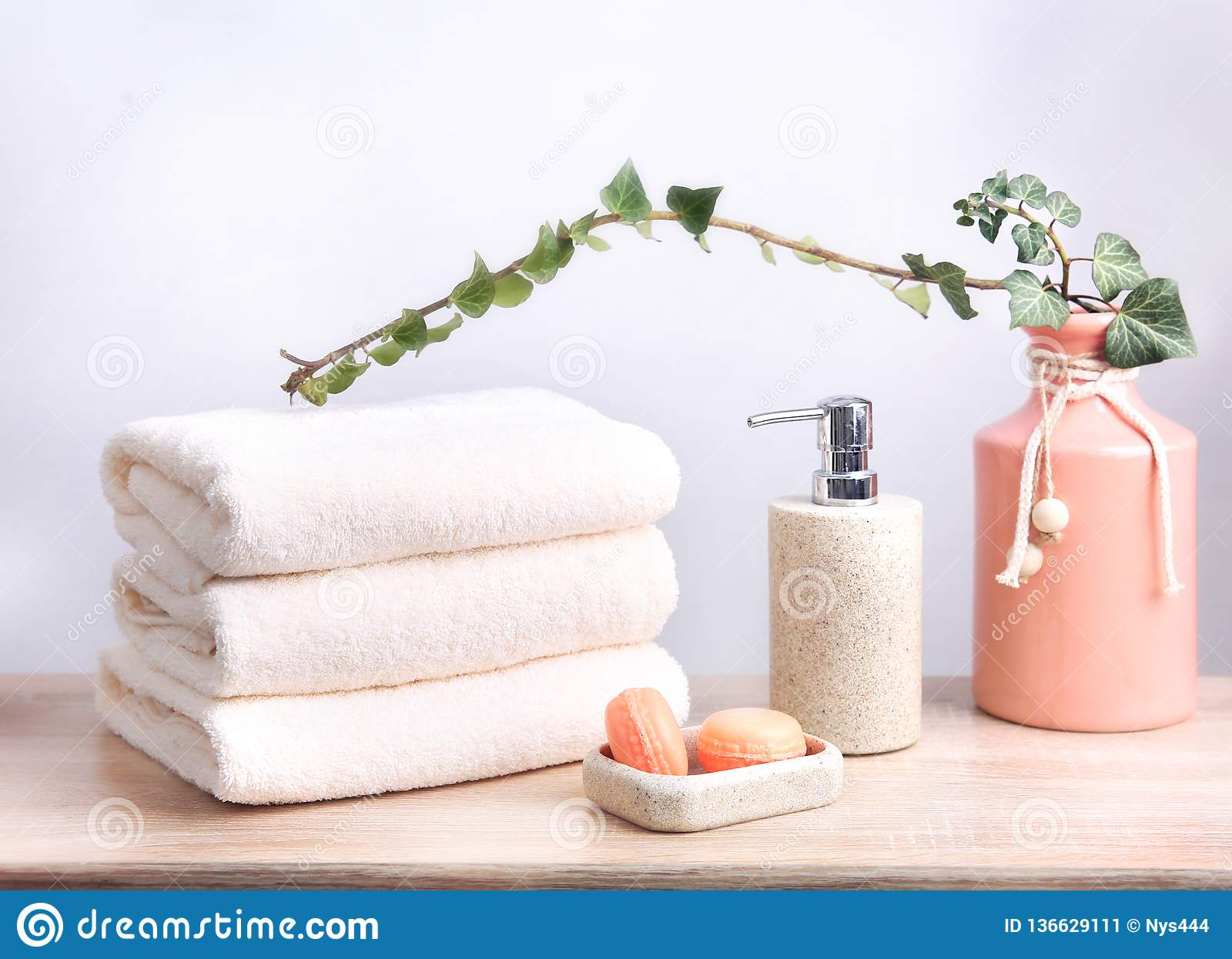 Stack Of Folded Towels Bathroom Objects Body Care Items Stock Image Image Of Care Natural 136629111