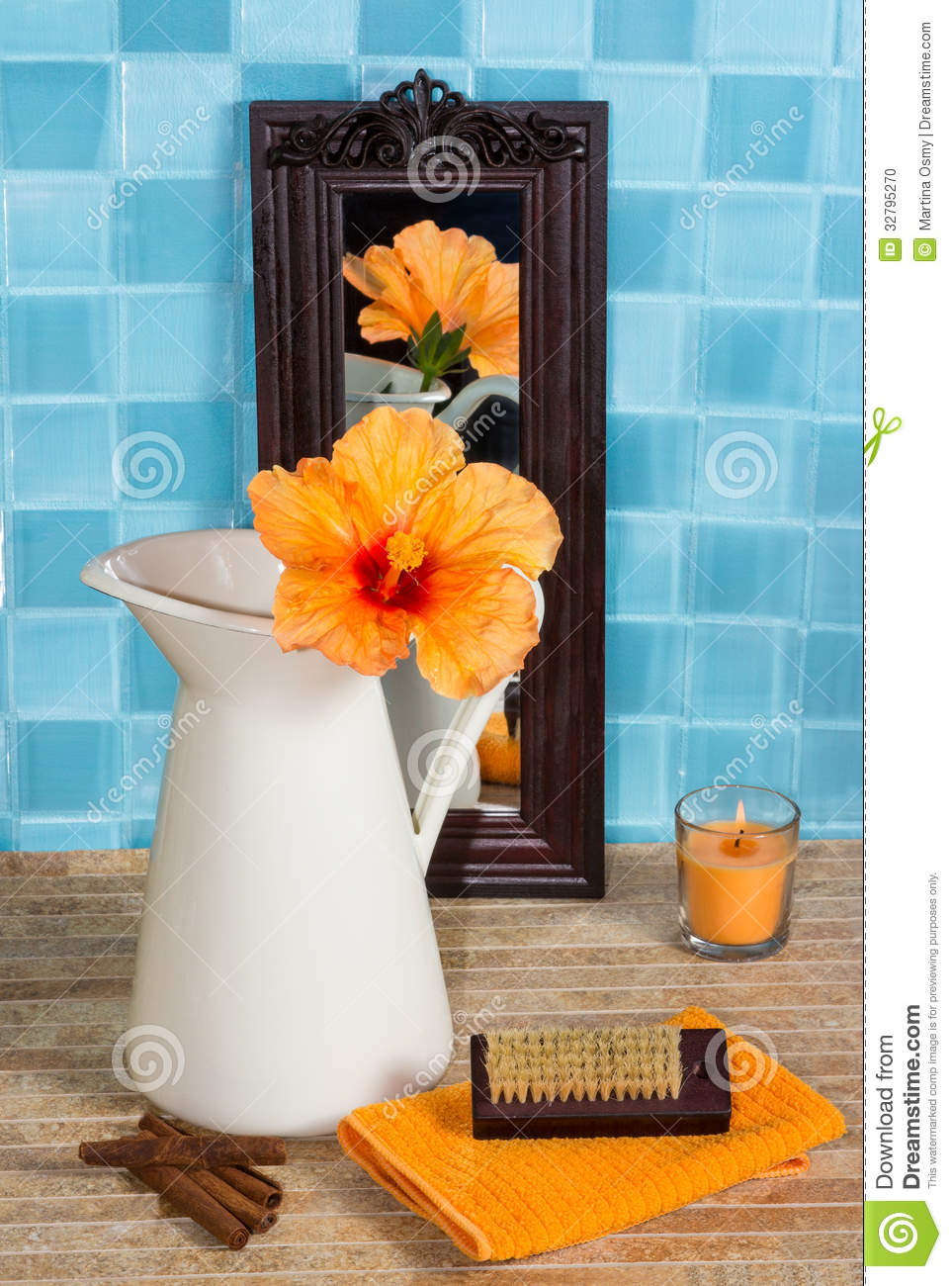 Bathroom Still Life With Hibiscus Flower In A Jug Stock Photo
