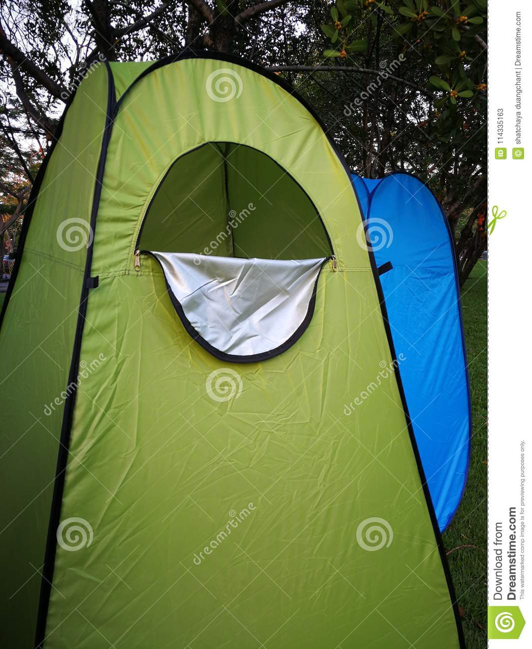Bathroom Tents For Camper Wear Or Change Clothes Outdoor Stock Image - Camping bathroom tent