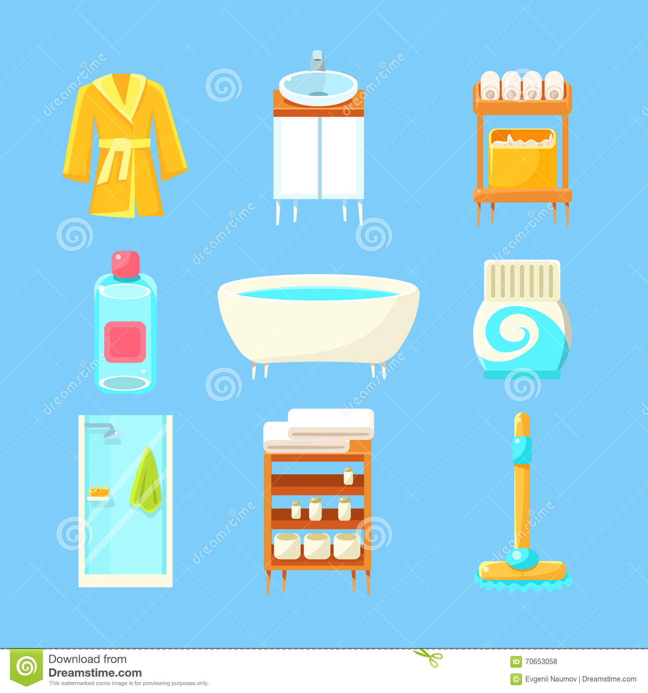 bathroom things set stock vector image of bright bath