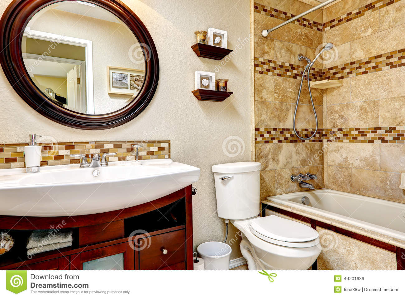 Bathroom with tile wall trim stock photo image 44201636 for Round mirror bathroom cabinet