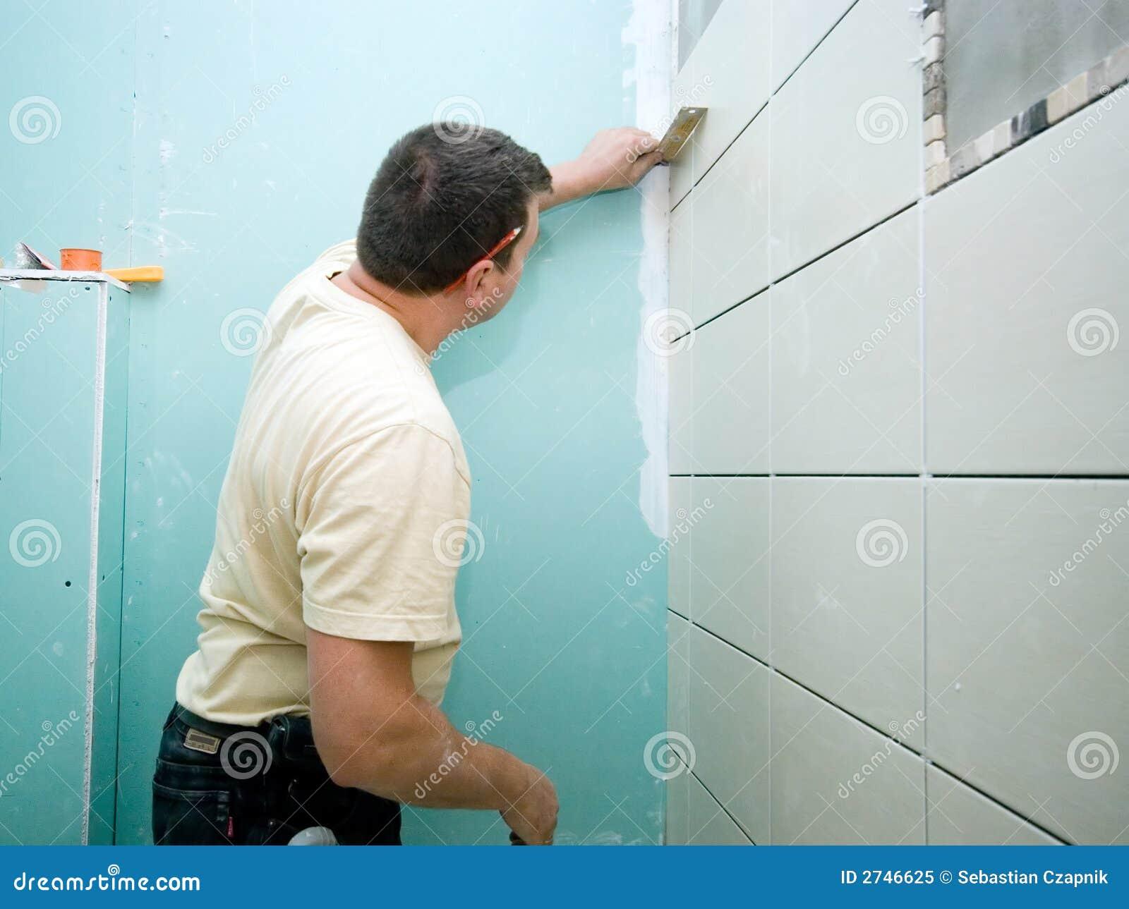Bathroom tiles renovation stock image. Image of install - 2746625