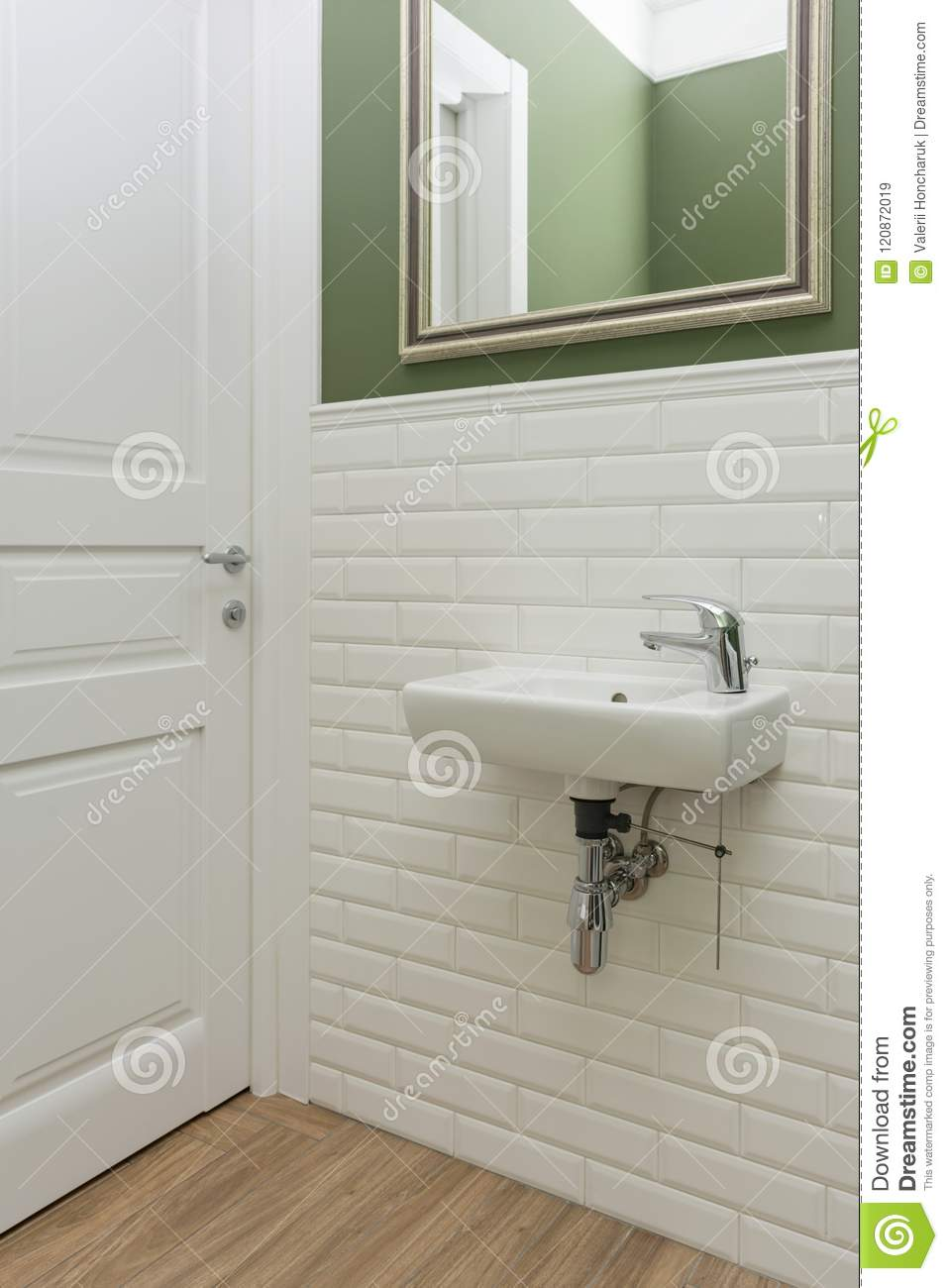 Bathroom, Toilet Room Interior Close-up. The Walls Are Painted Green ...