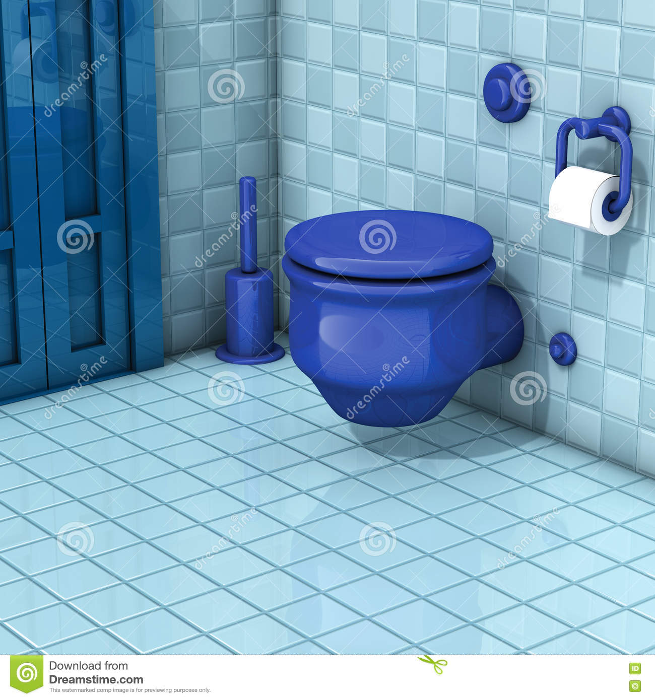 Bathroom with toilet tiles stock illustration. Illustration of ...