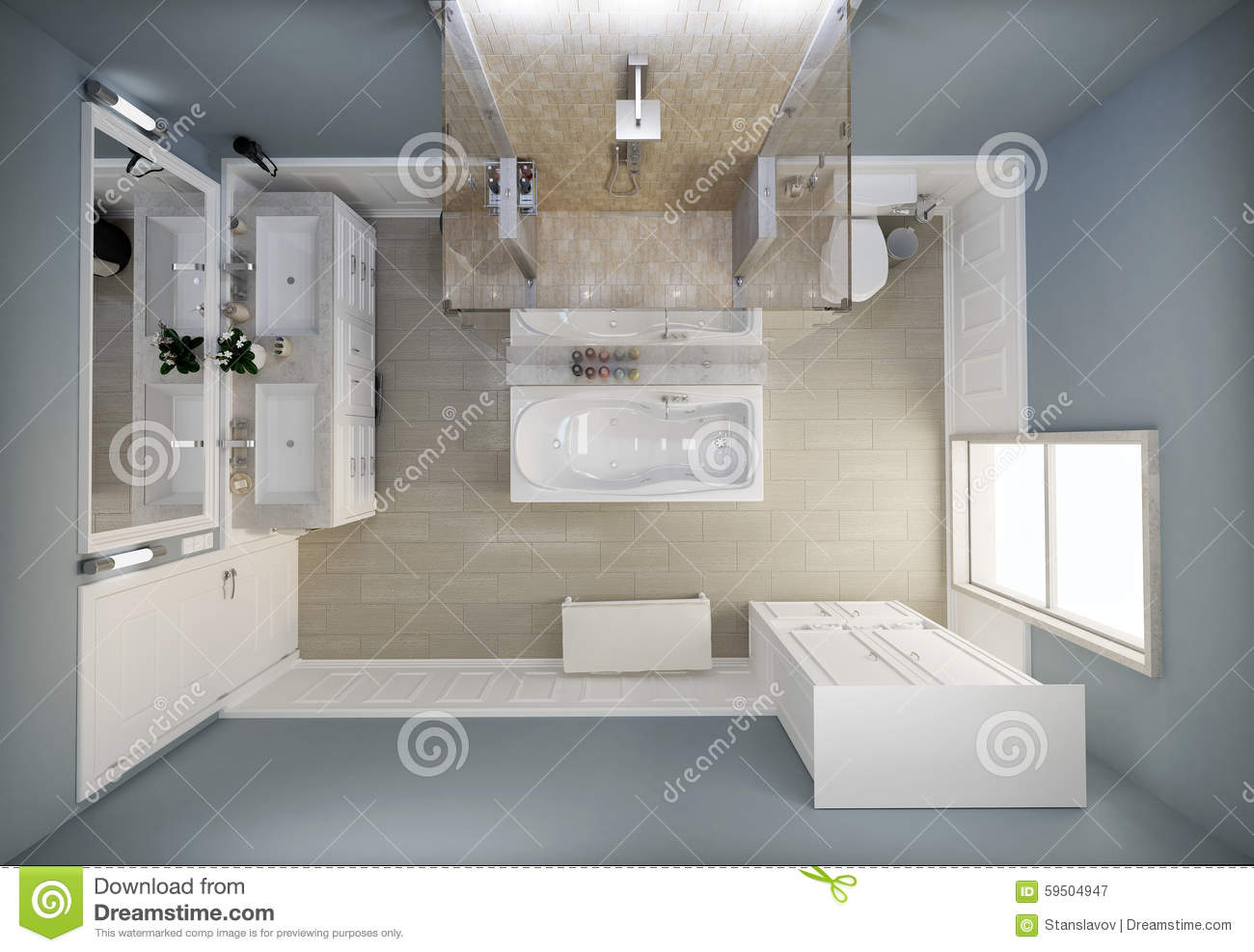 Bathroom Top View Stock Image Of Interior Basket