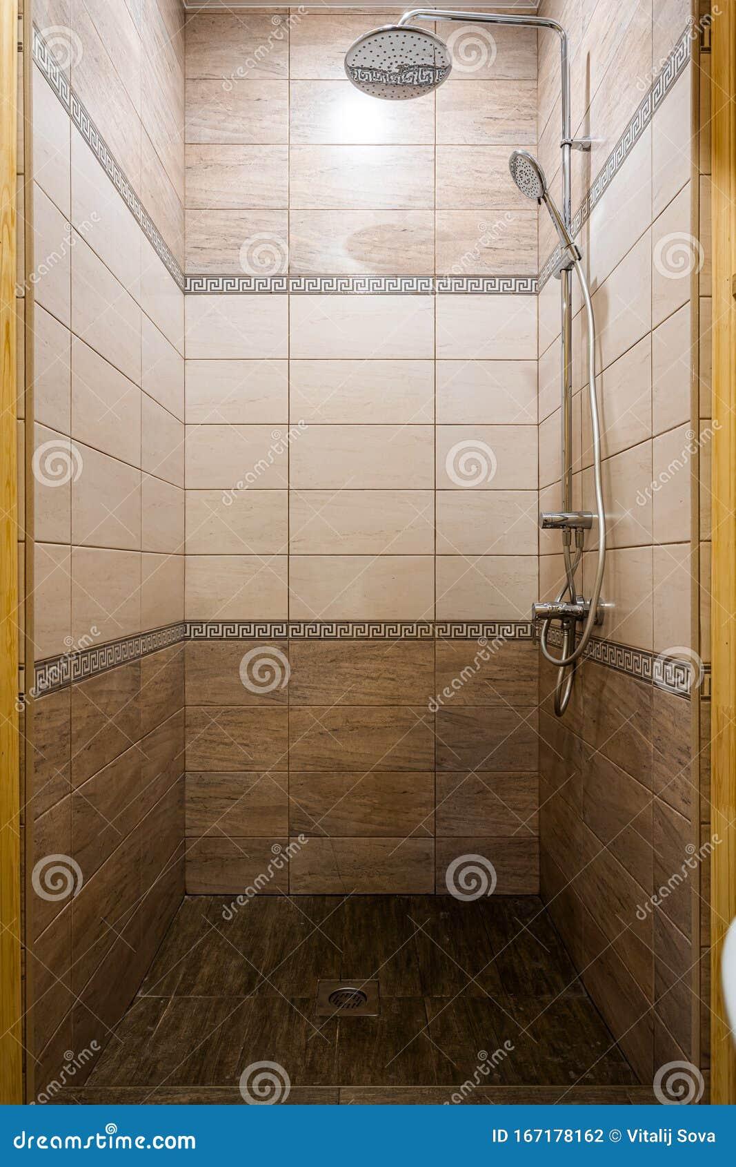 Minimalist Hotel Room: Minimalist Shower Room With Hotel Sauna Stock Photo