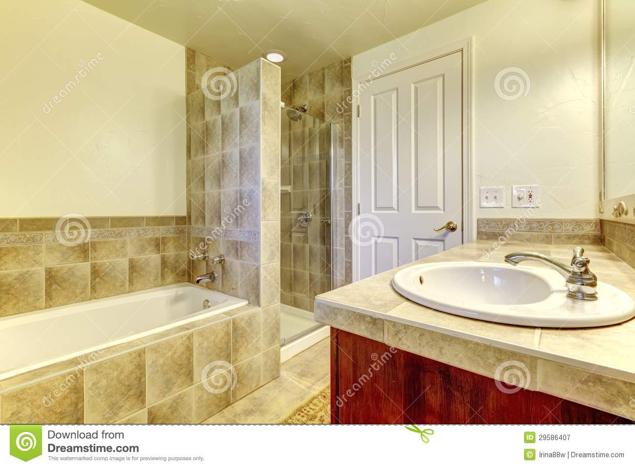 Bathroom With Tub Small Shower And Wood Cabinets Royalty