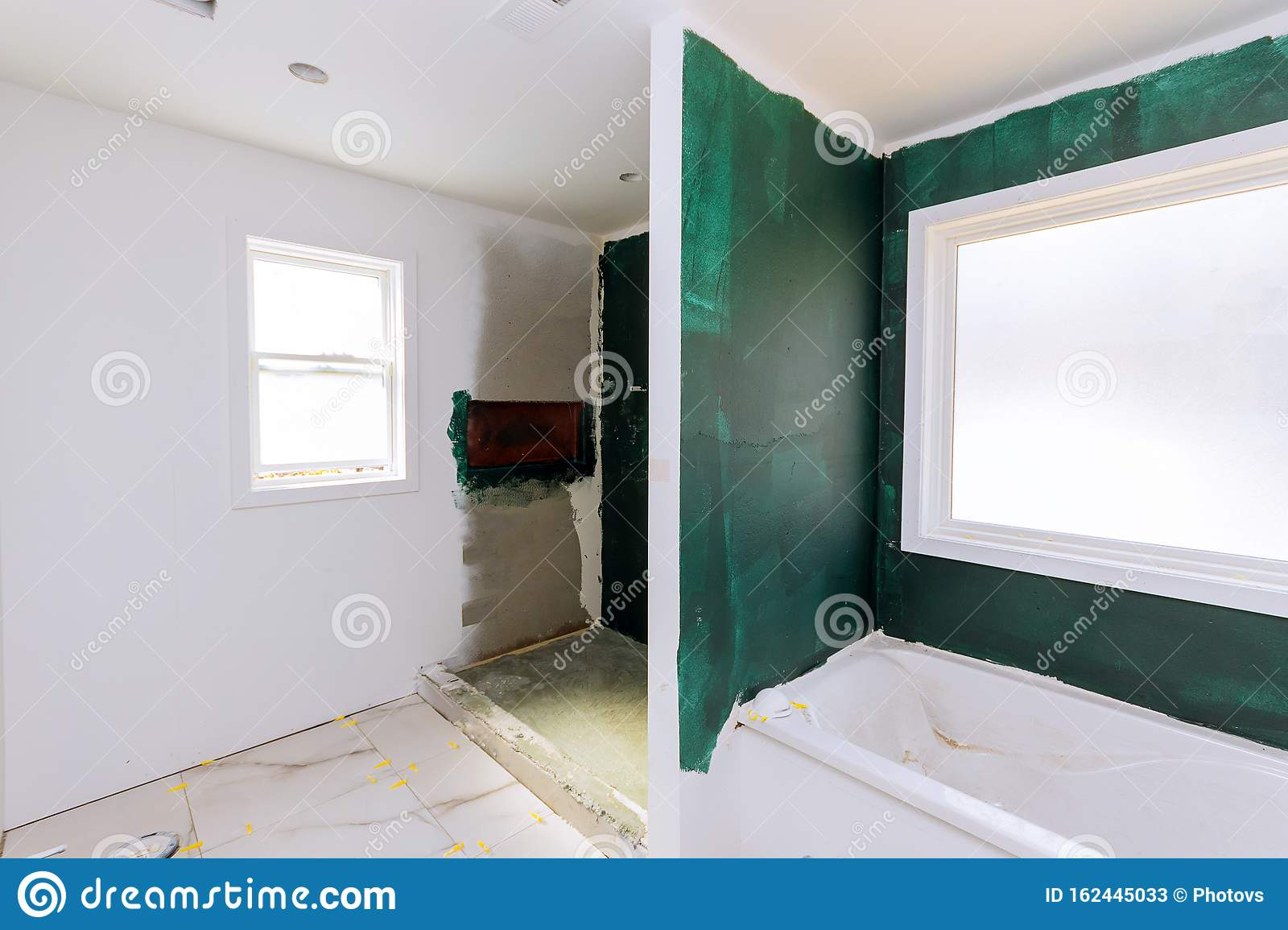 Bathroom Unfinishing New Apartments Repair Installation Of Interior Drywall Finish Stock Image Image Of Bath Interior 162445033